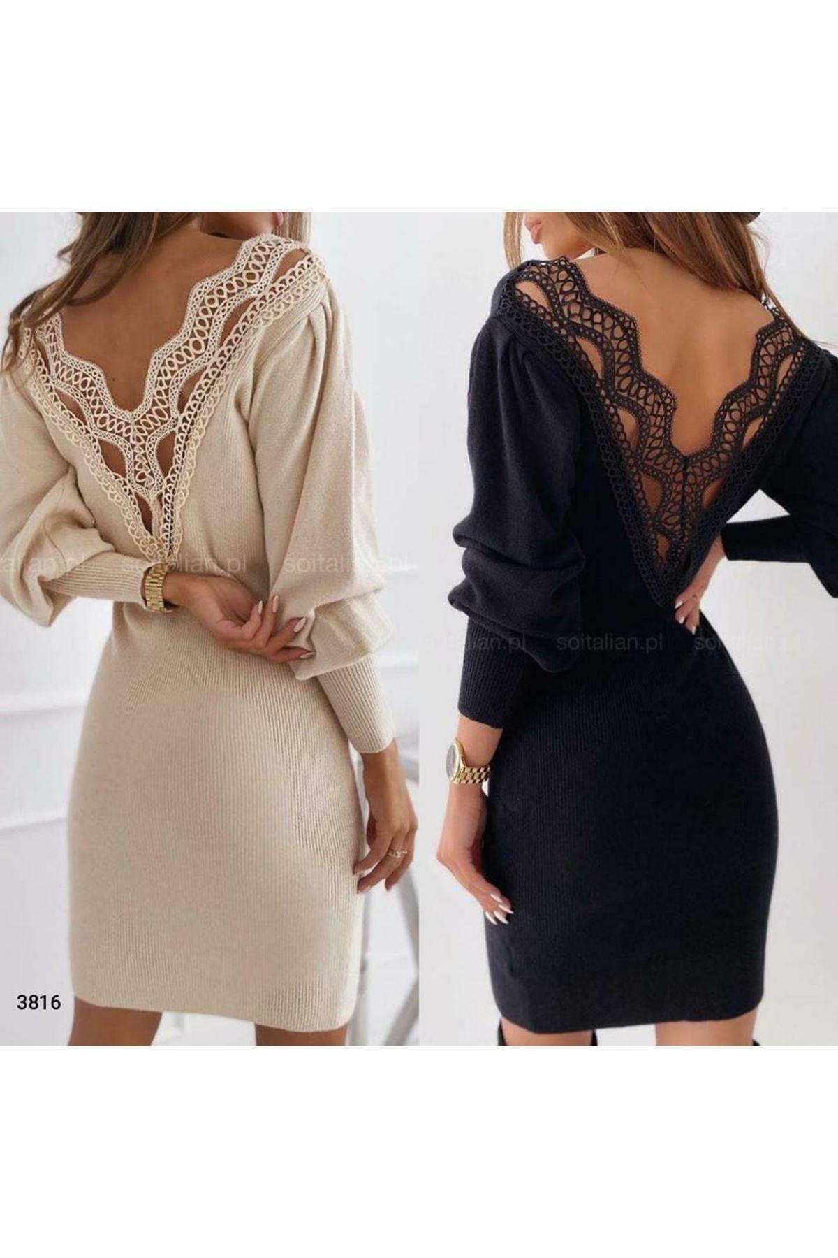 Sırt Güpür Detaylı Elbise - siyah