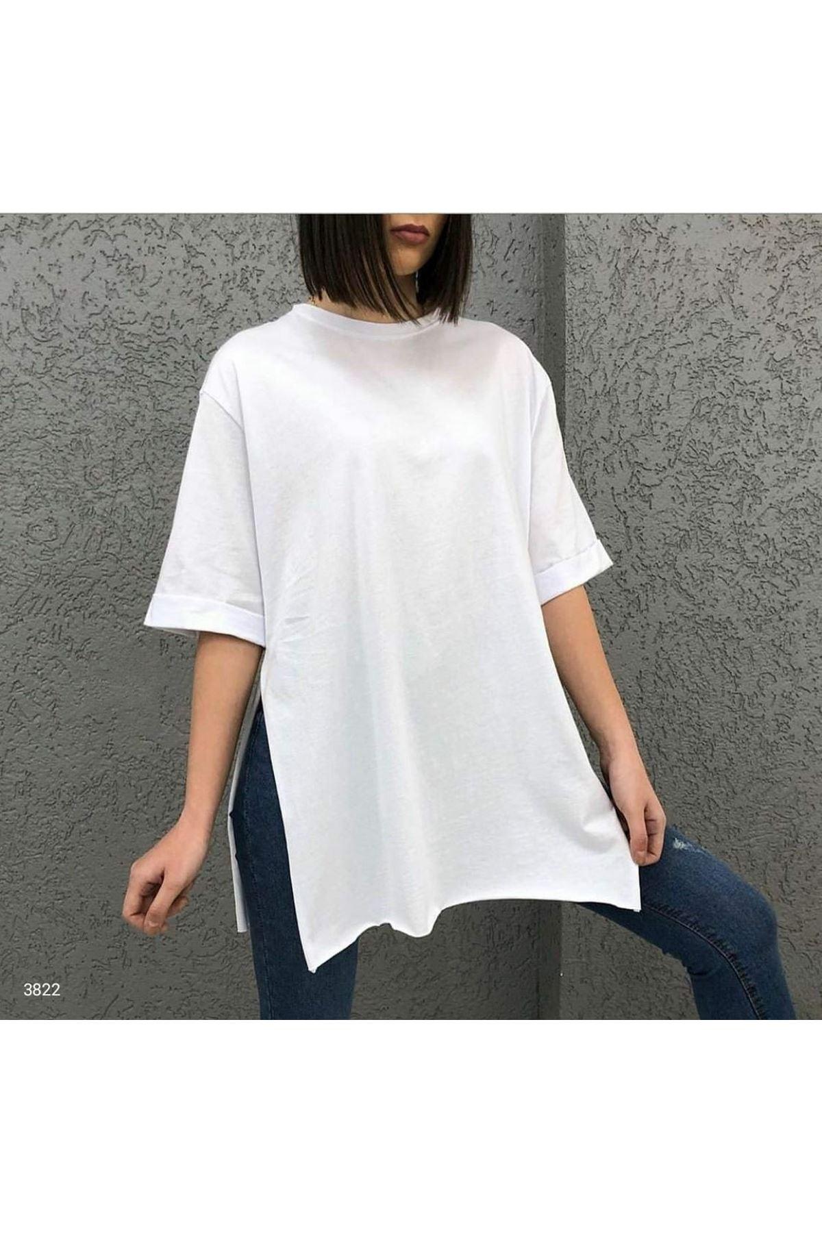 Yırtmaç Detaylı T-shirt - beyaz