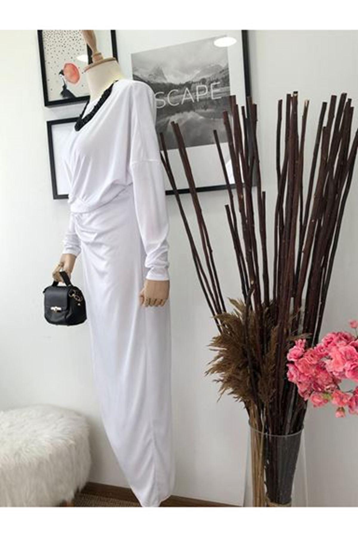 Asimetrik Uzun Elbise - beyaz