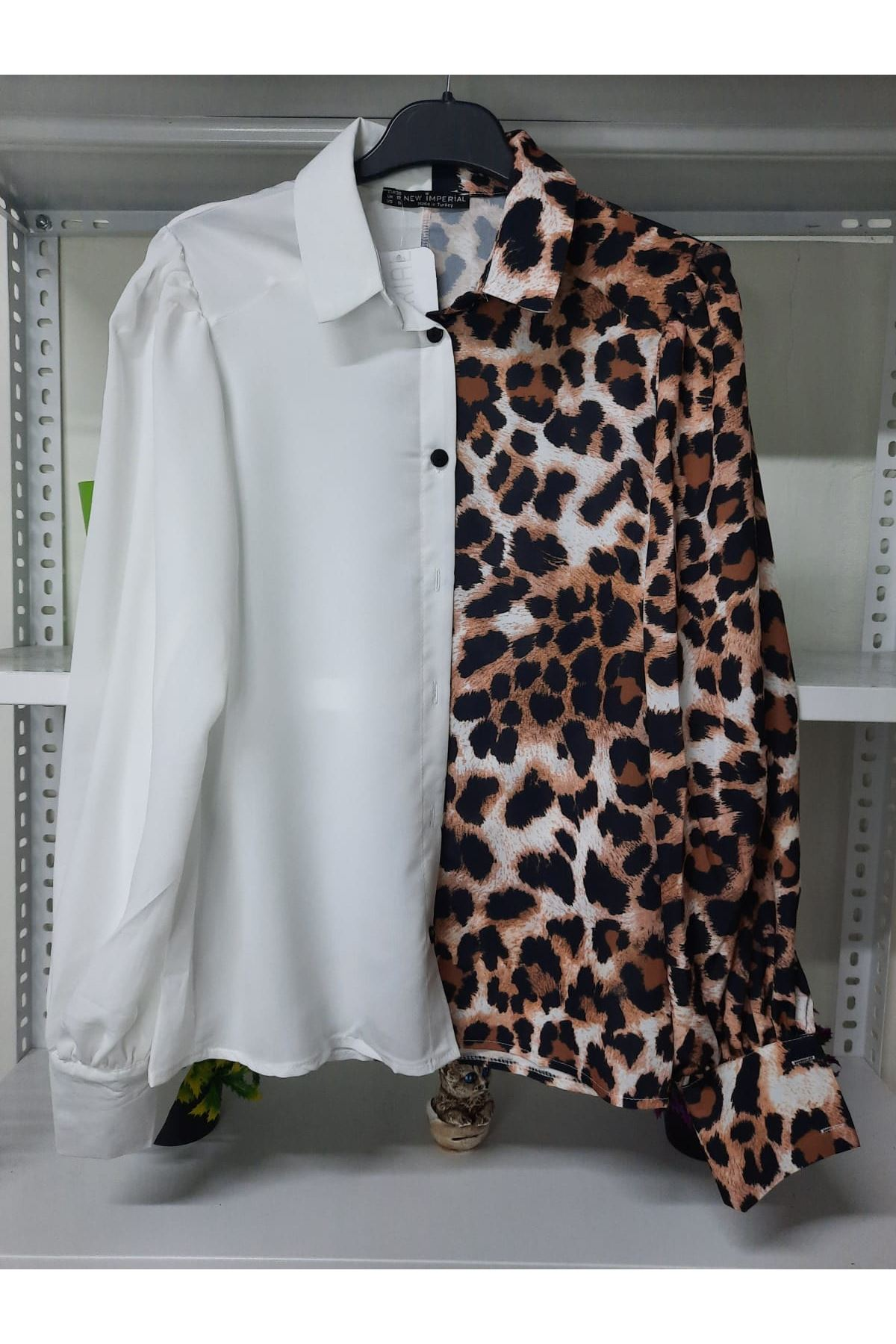 Leopar Desen Qin Kumaş Gömlek - leopar