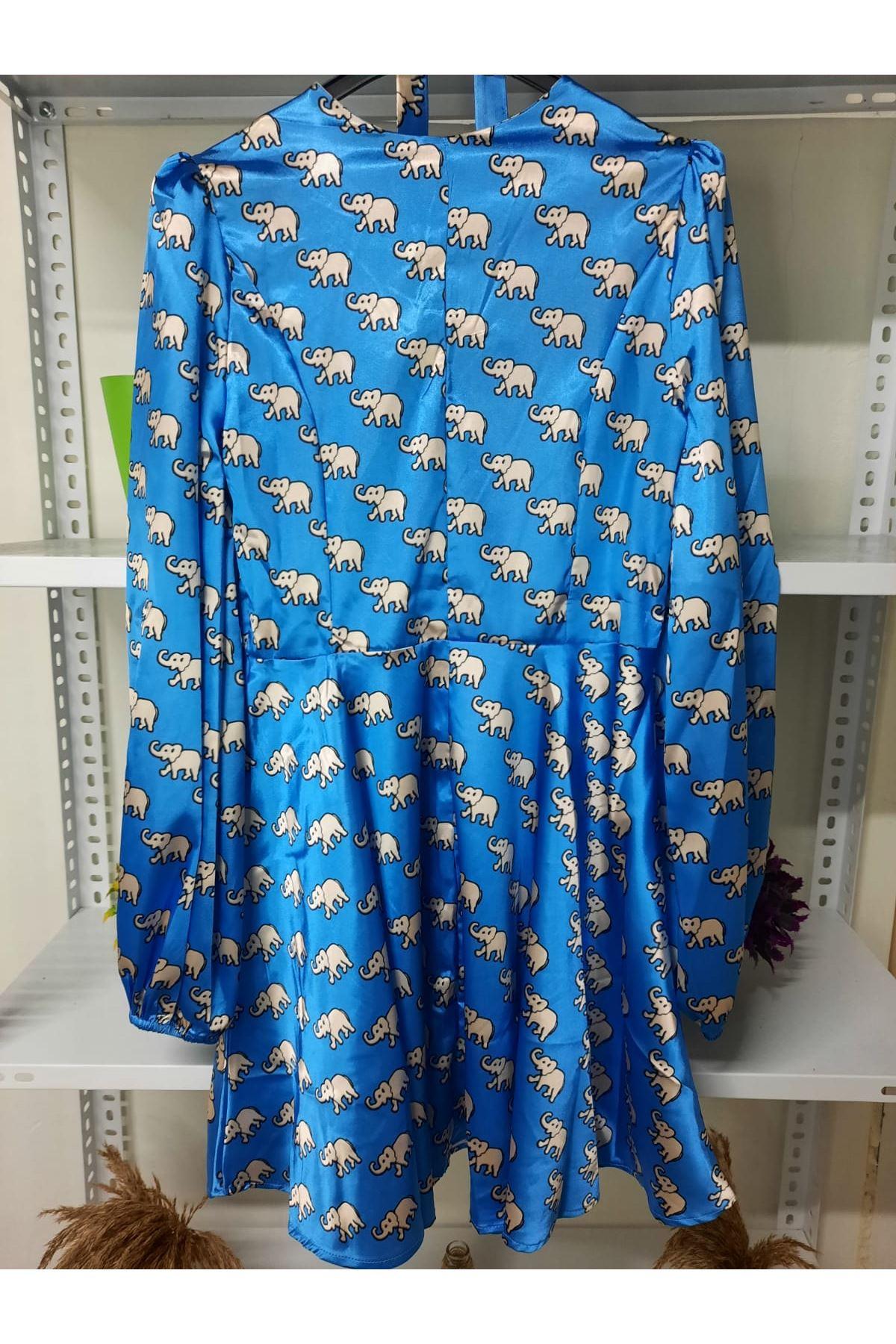 Fil Desen Saten Elbise - mavi