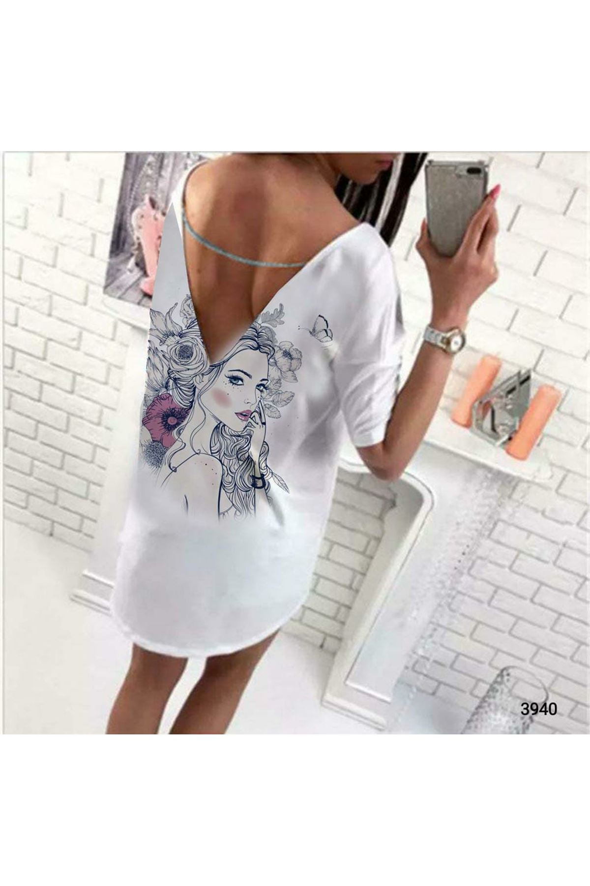 BaskılI Tunik Elbise - beyaz