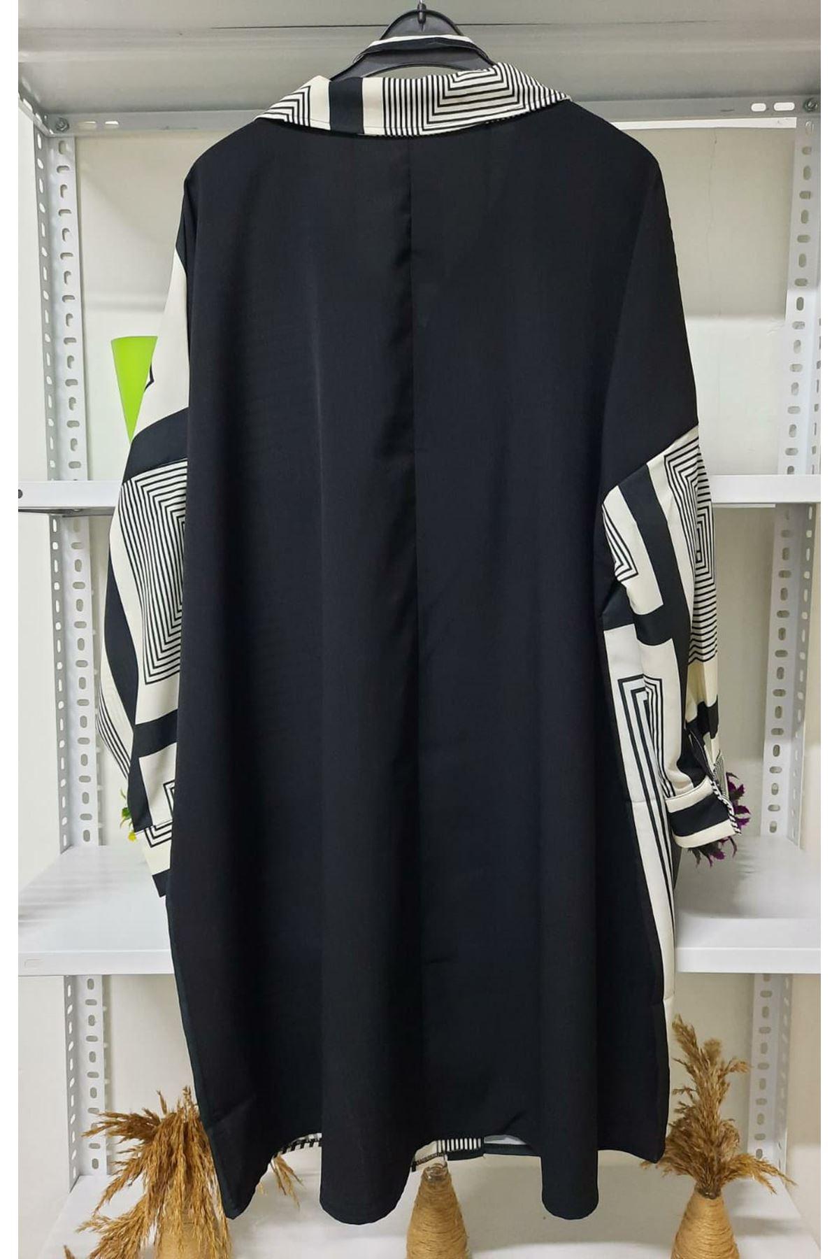 Çizgi Desen Gömlek Elbise - multi