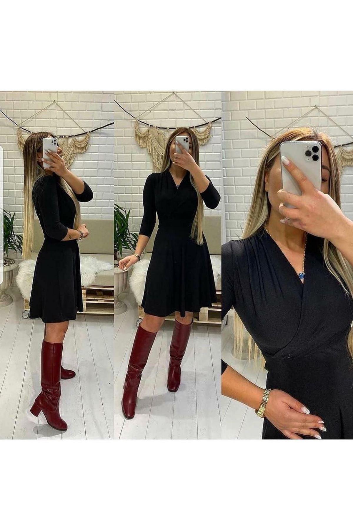 Kruvaze Mini Elbise - siyah