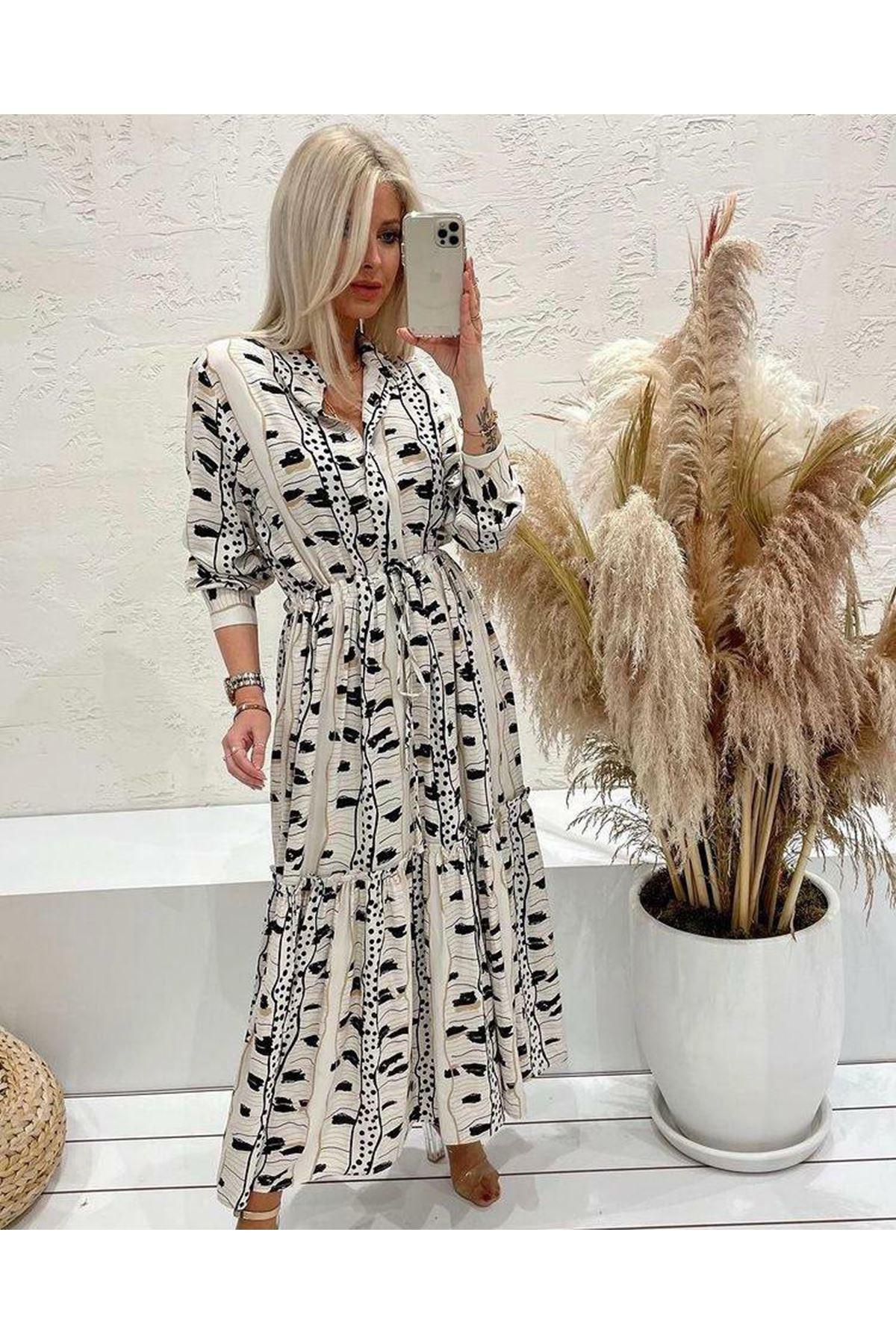 Düğmeli Maxi Elbise - beyaz