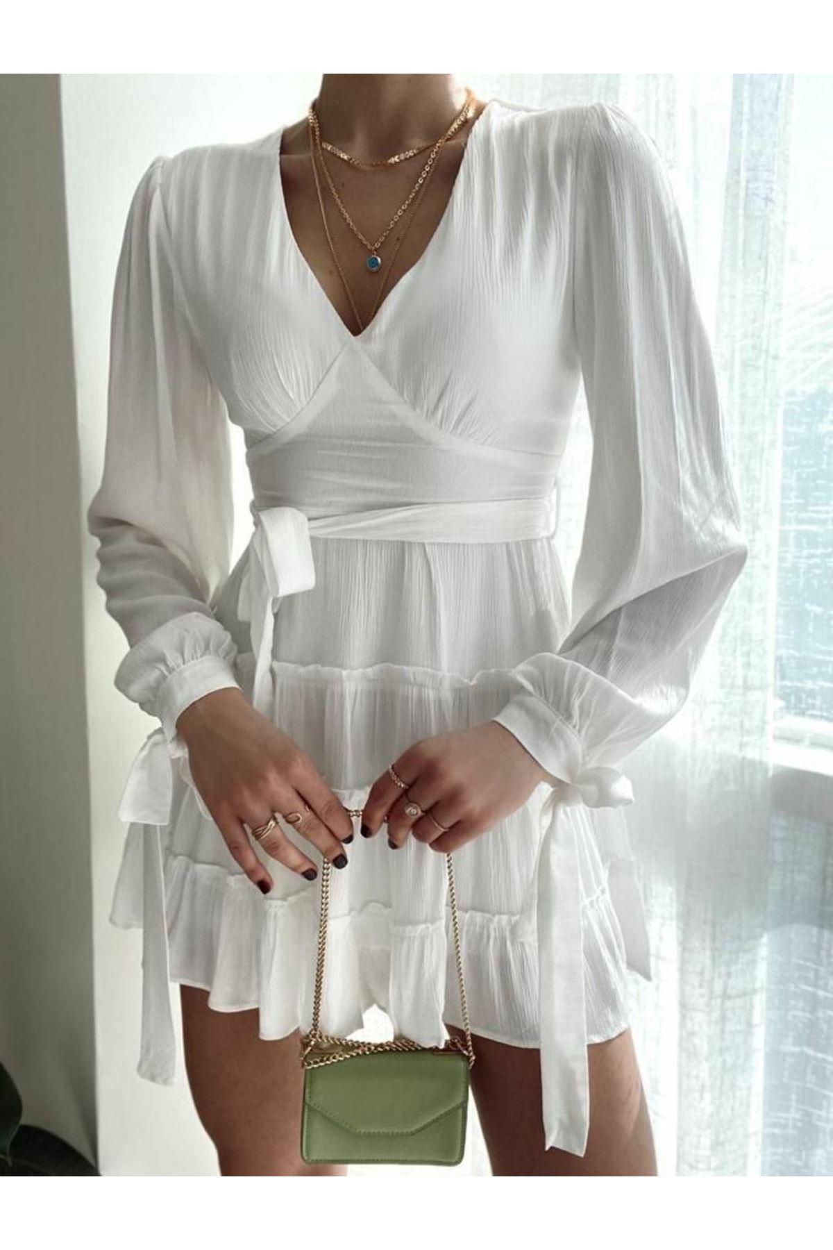 Bilek Detaylı Kuşaklı Elbise - BEYAZ