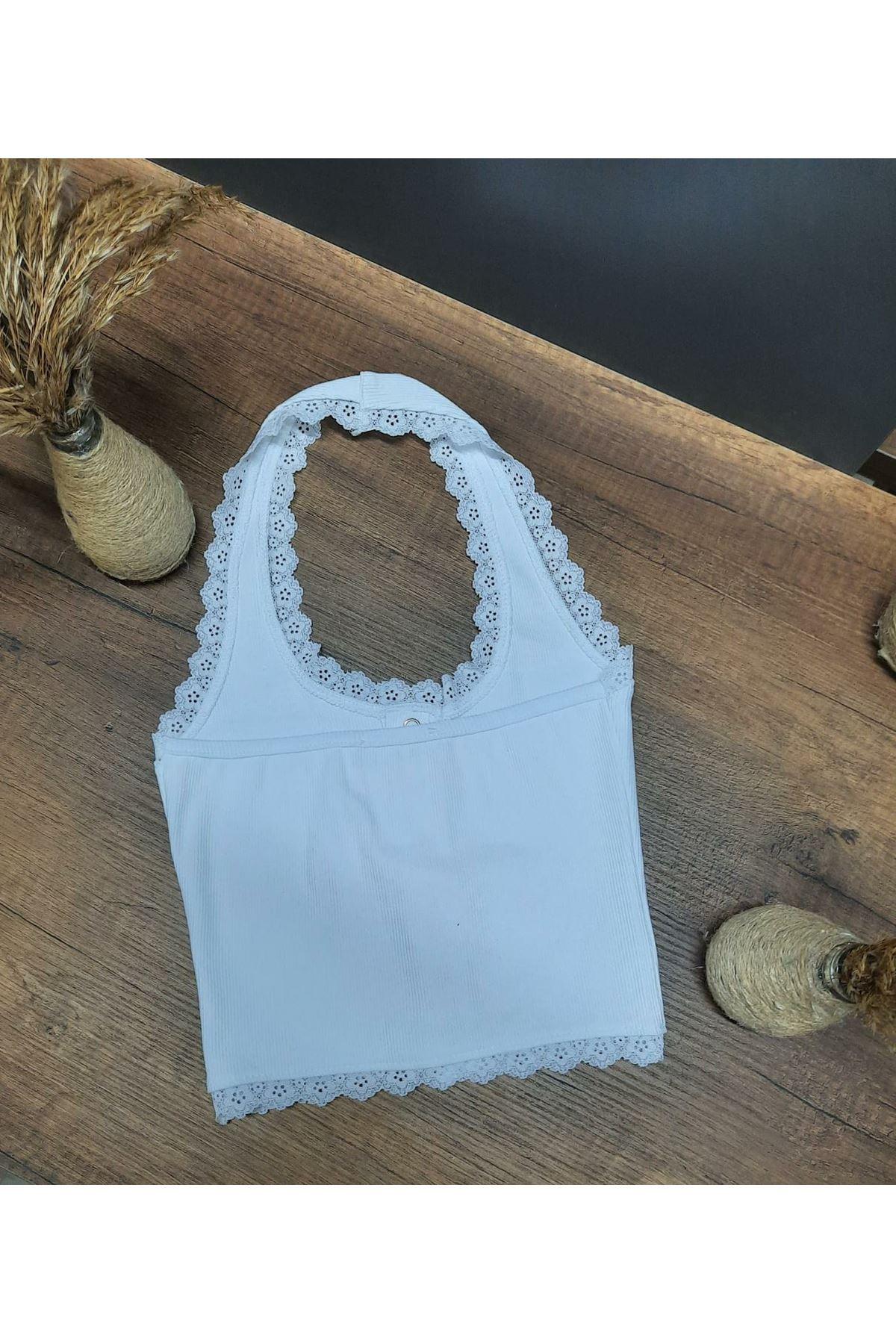 Pamuk Kaşkorse Crop Bluz - beyaz