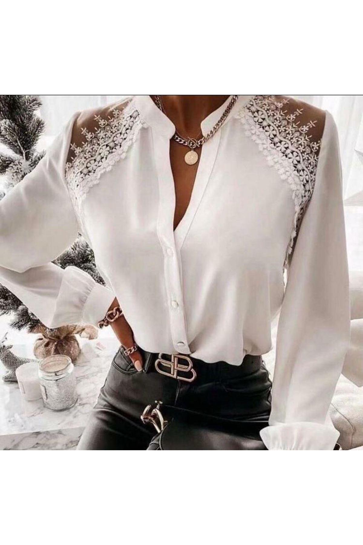 Omuz Dantelli Bluz - beyaz