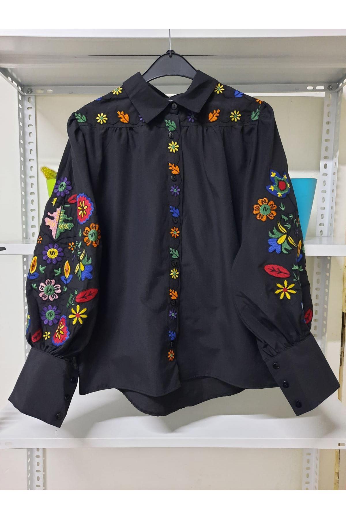 Nakış Detaylı Gömlek - siyah