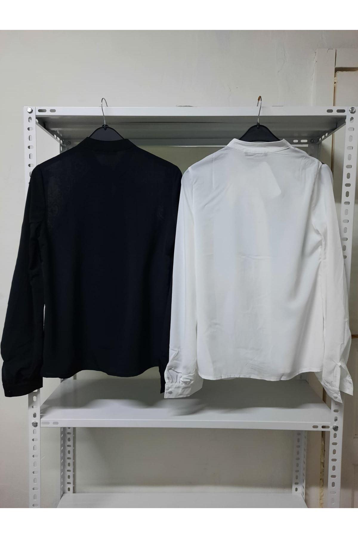 Omuz Dantelli Bluz - siyah