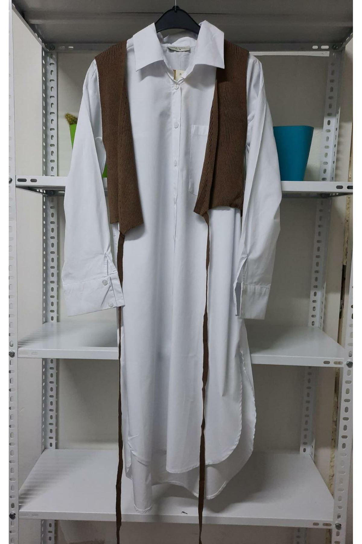 Triko Büstiyerli Gömlek - beyaz