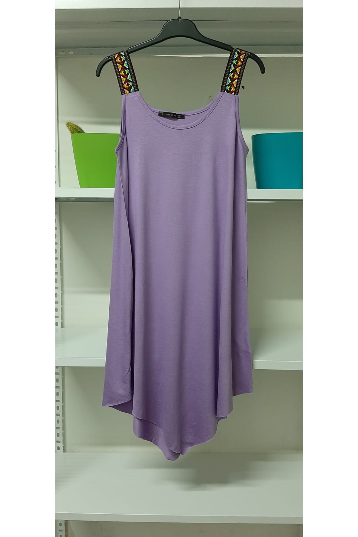 Omuz Detaylı Viskon Elbise - mor