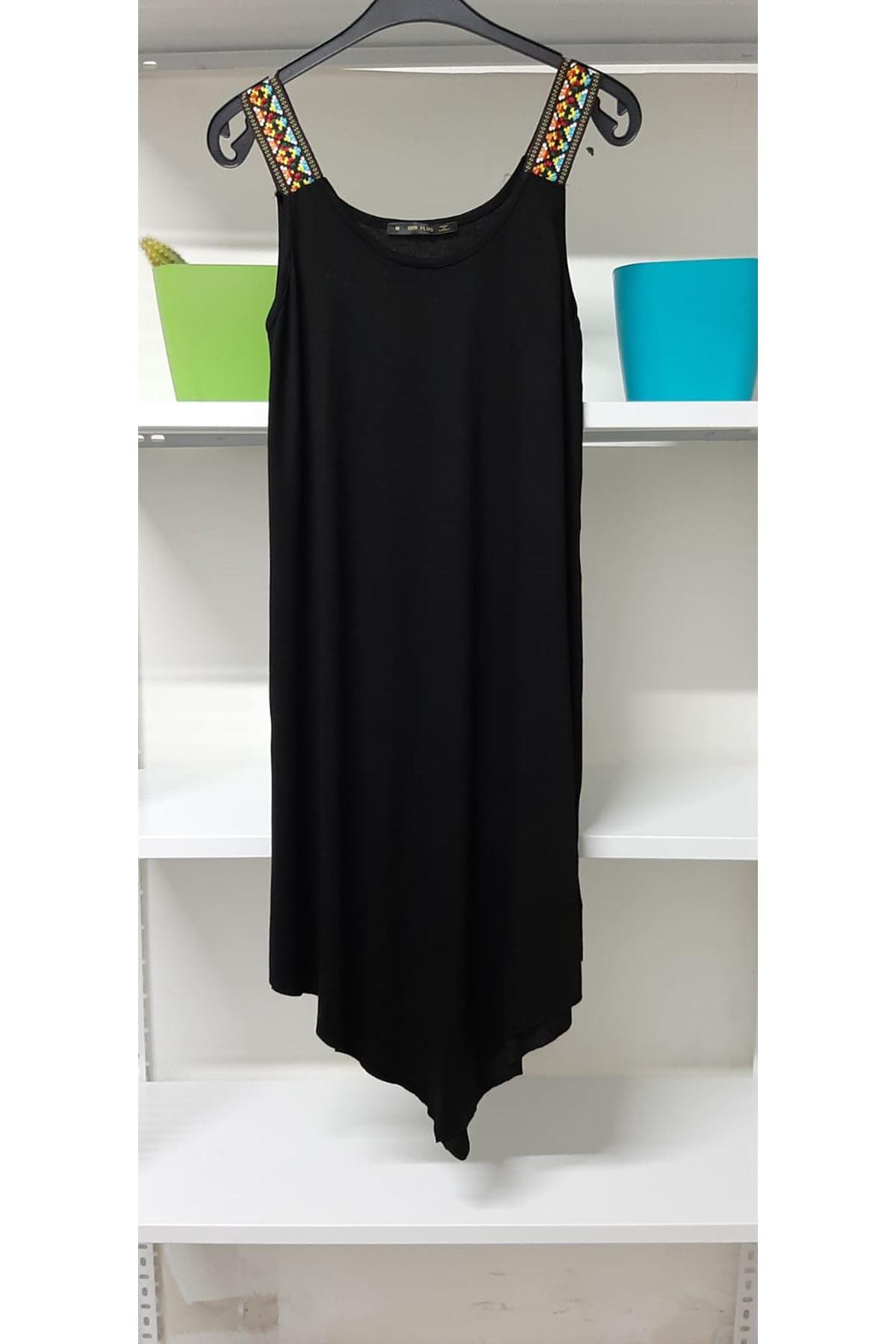 Omuz Detaylı Viskon Elbise - siyah