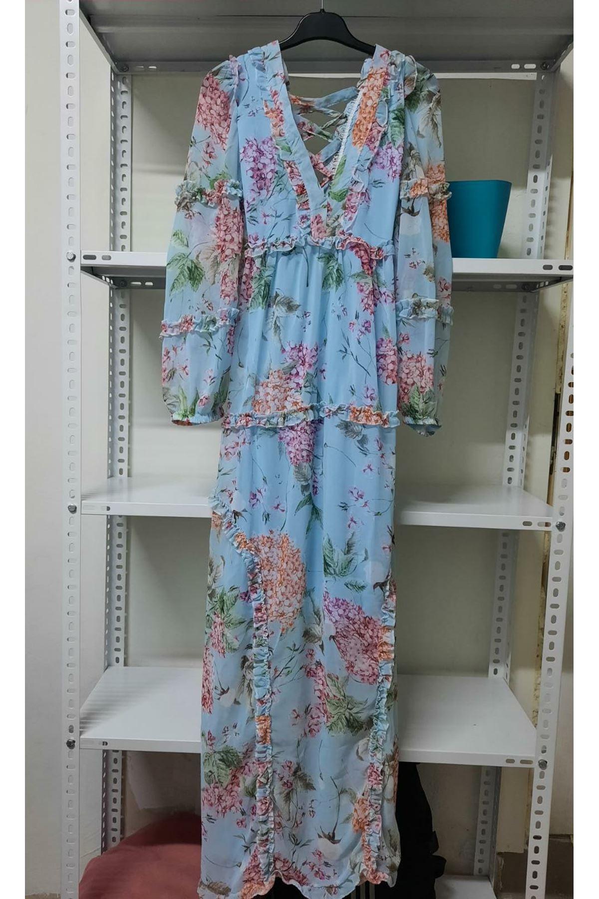 Sırt Detaylı Astarlı Elbise - mavi