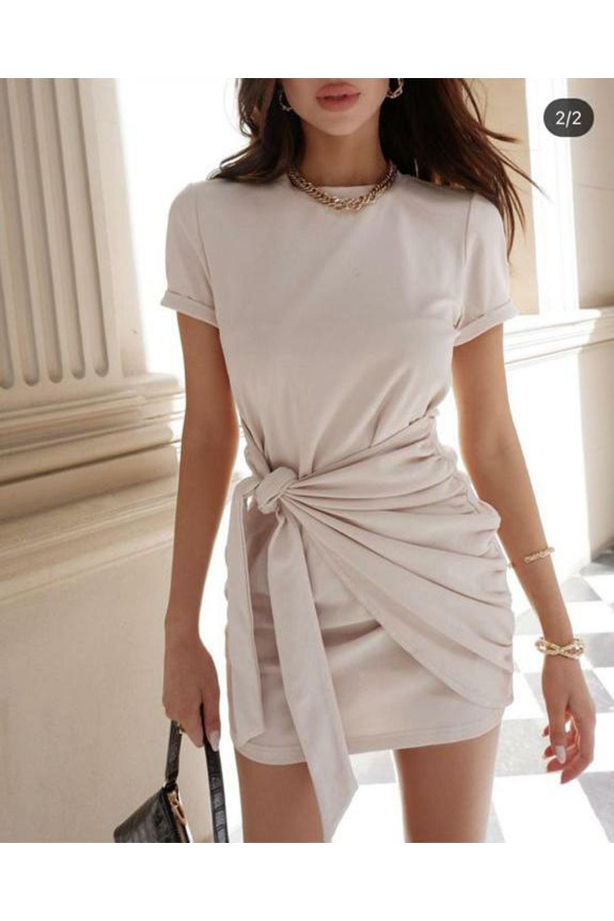 Belden Bağlamalı Elbise - ekru