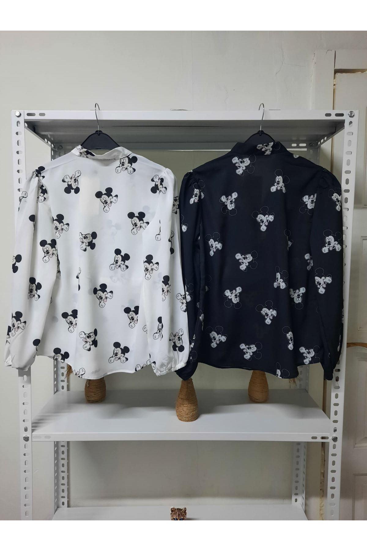 Mıckey Desen Bluz - beyaz