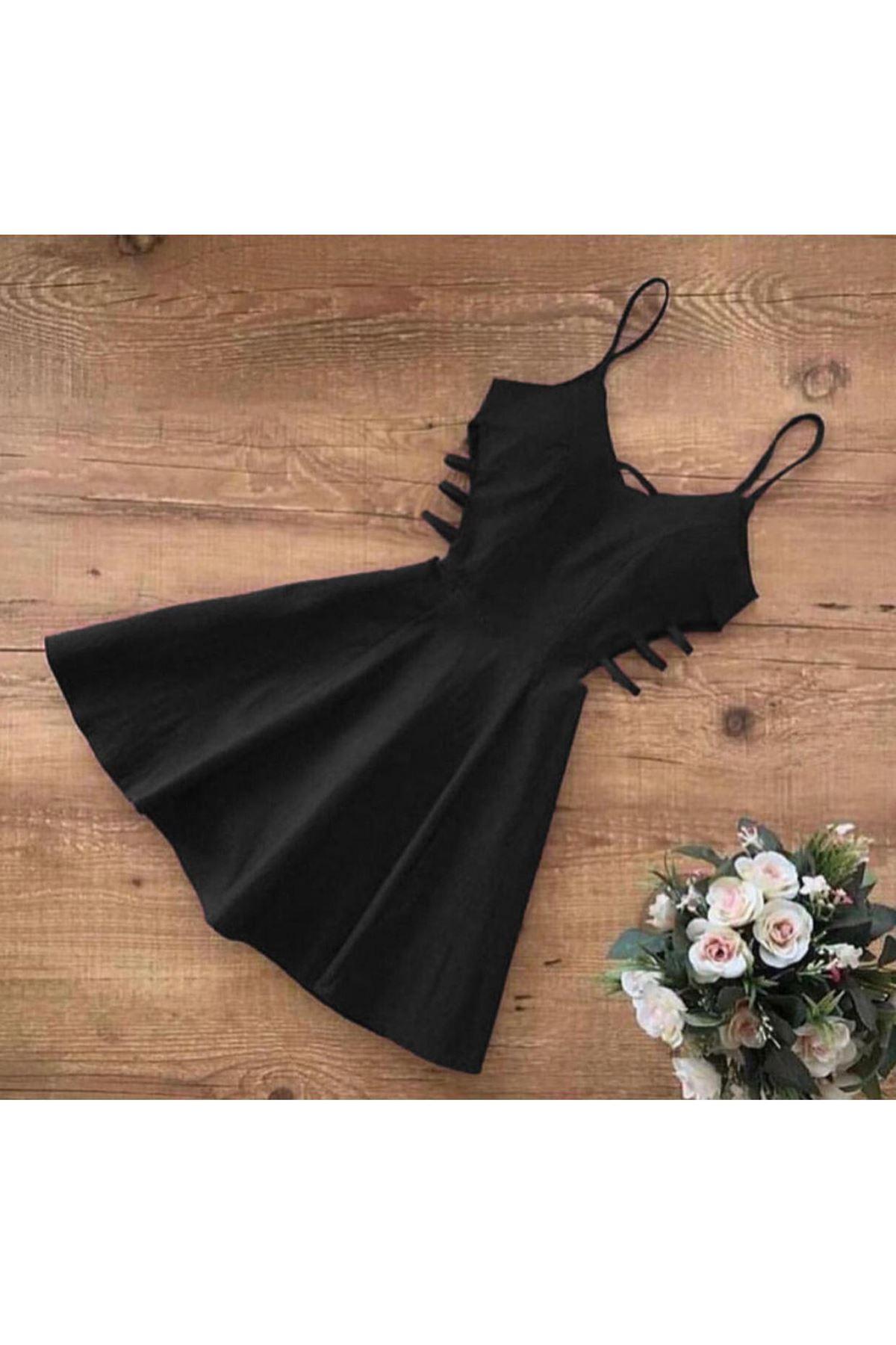 Yanı Detaylı Mini Elbise - siyah