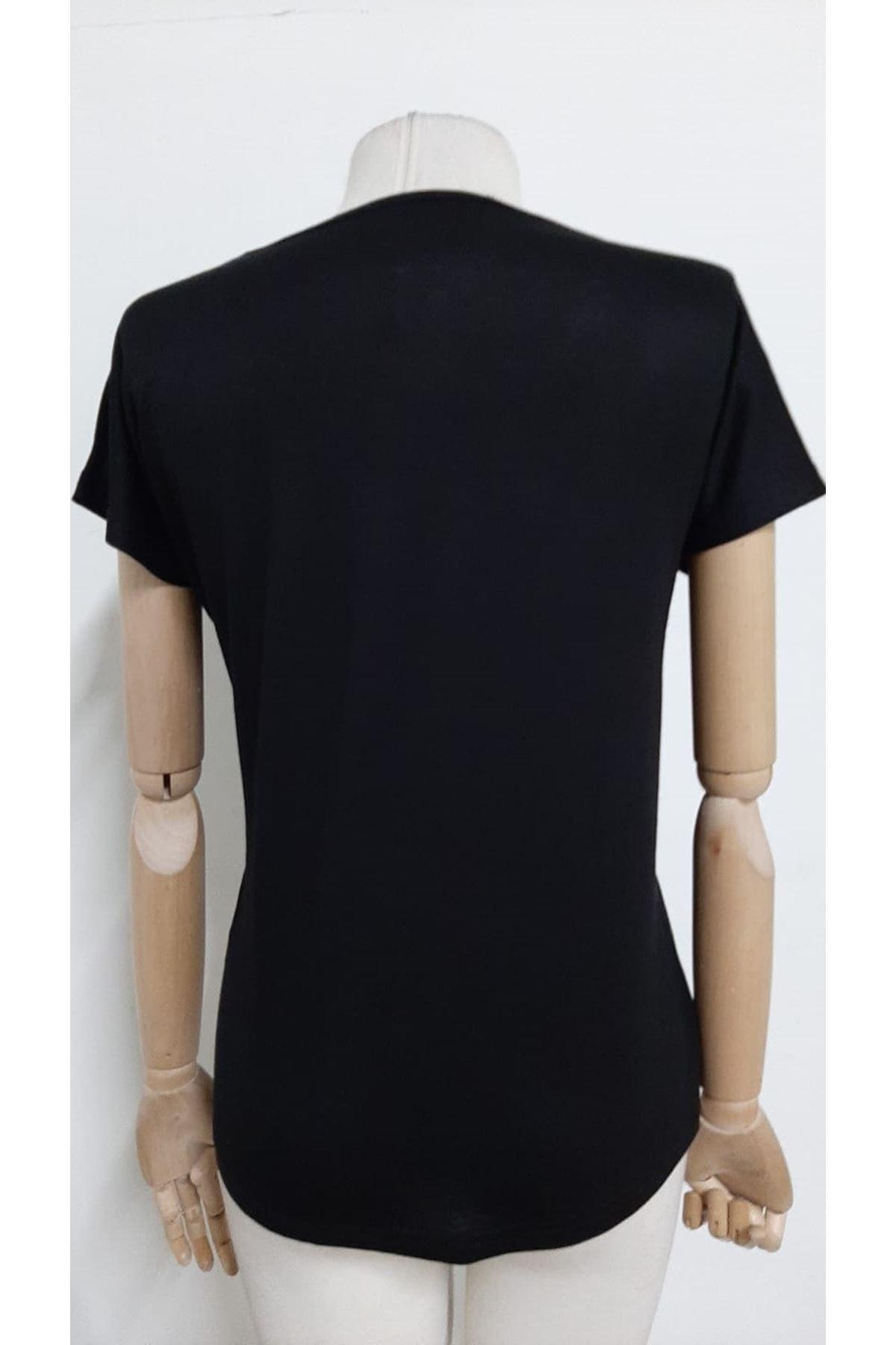 Yaka Dantelli Bluz - siyah