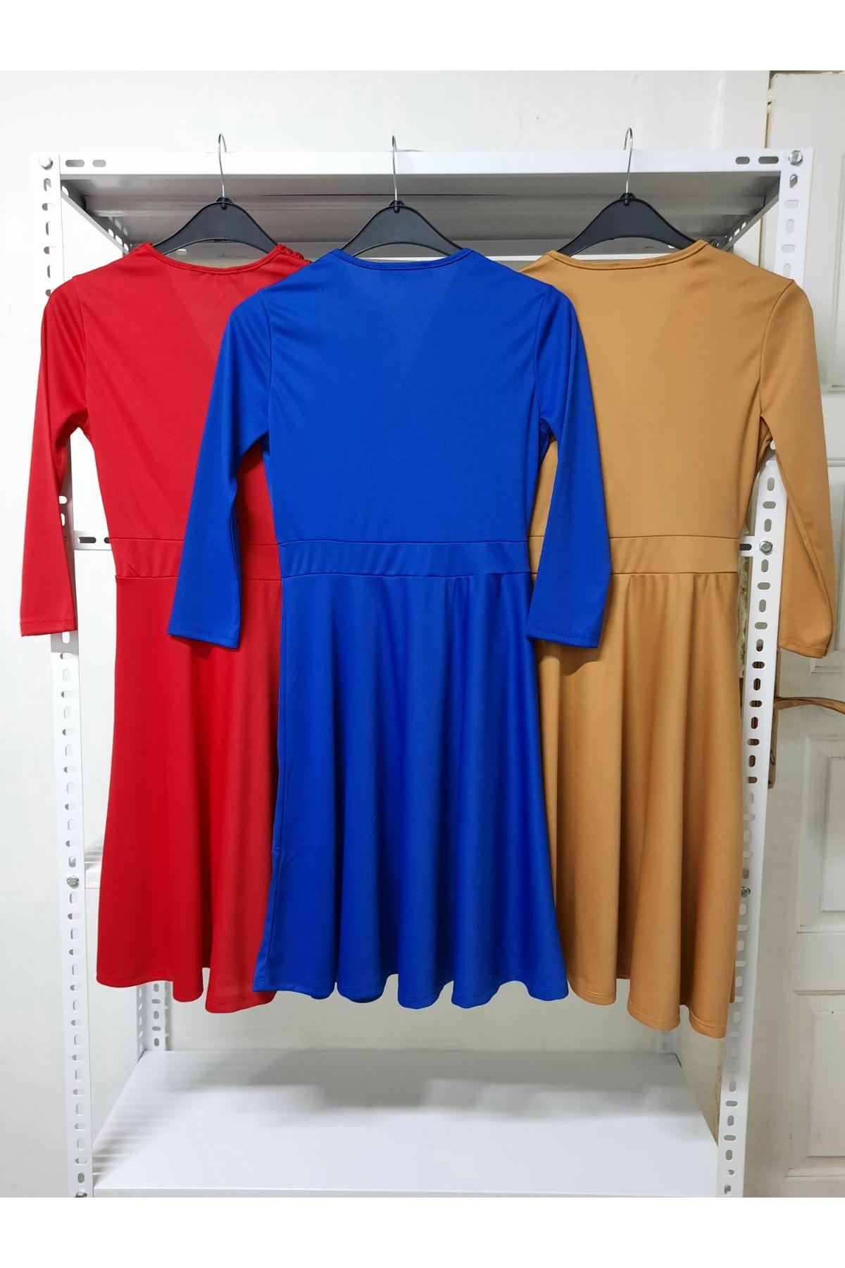 Kruvaze Mini Elbise - kırmızı