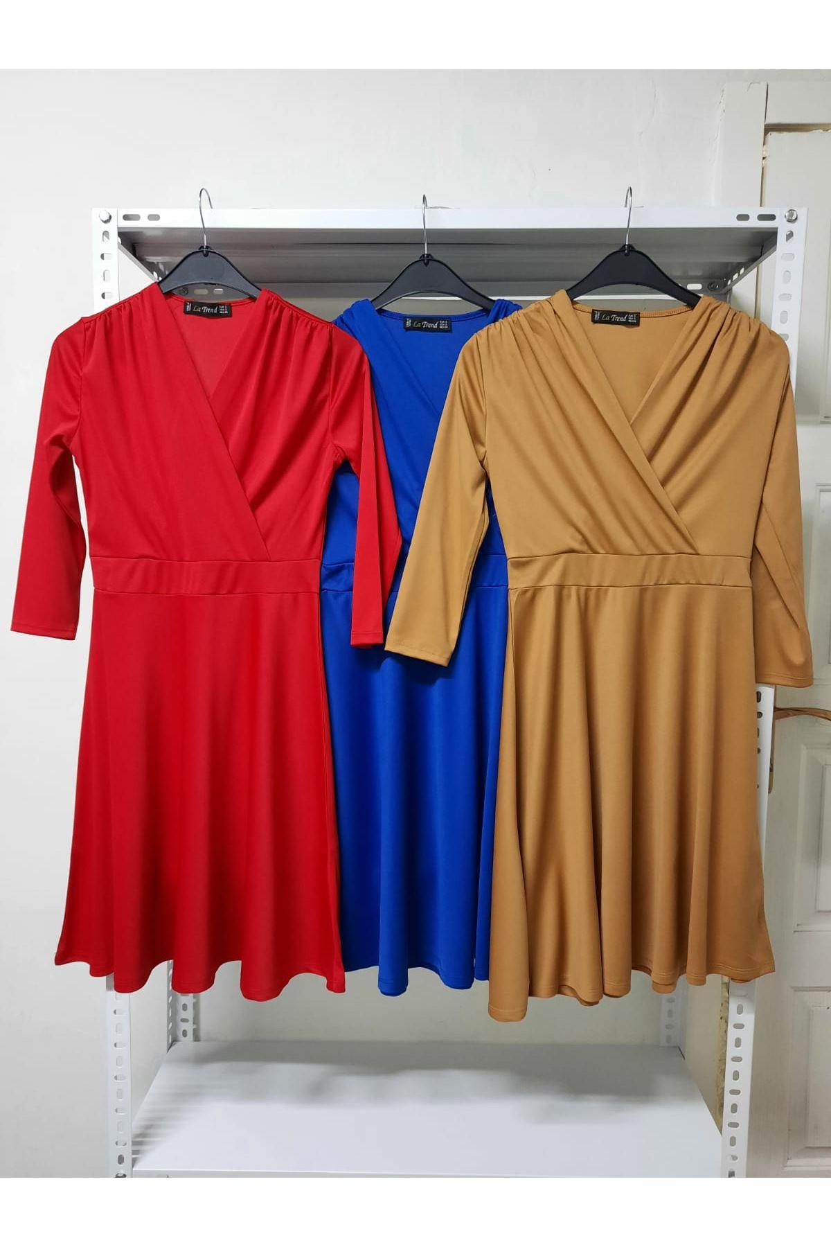 Kruvaze Mini Elbise - hardal