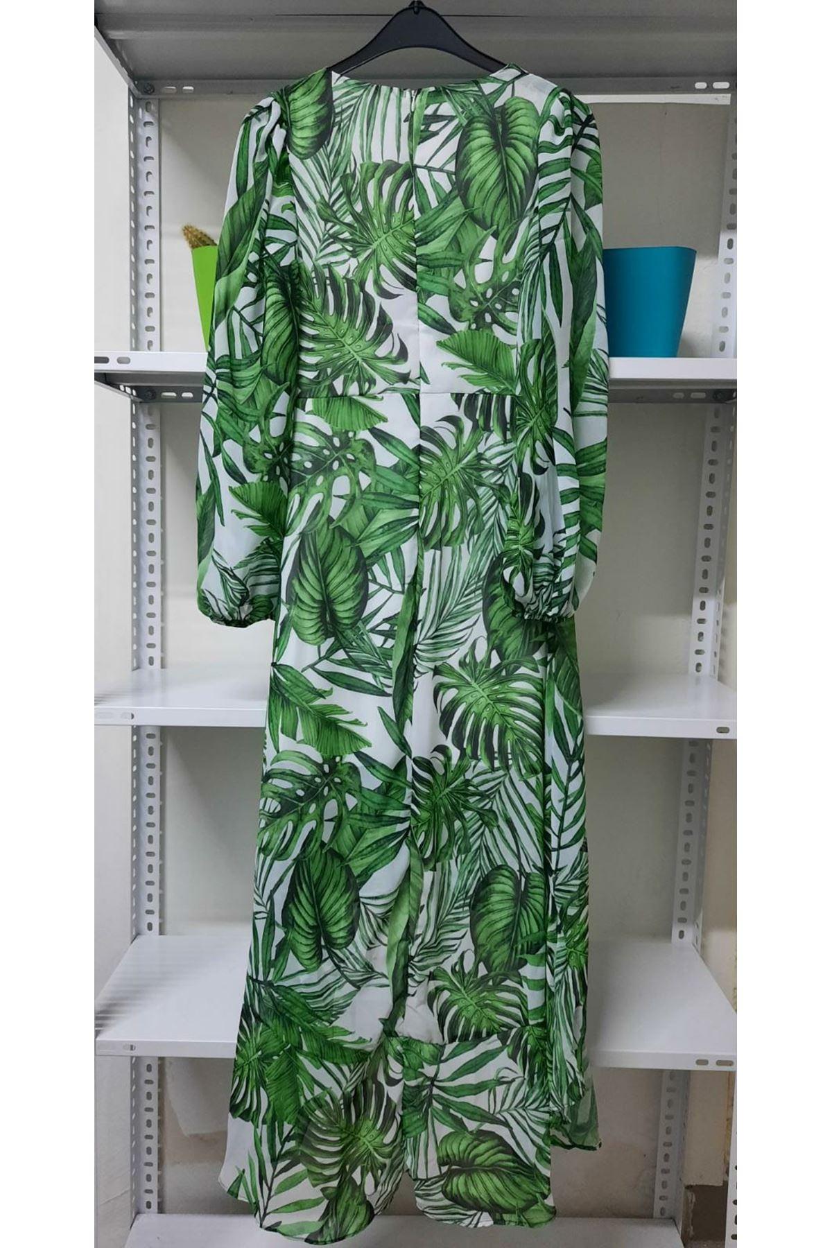 İthal Kumaş Astarlı Elbise - yeşil