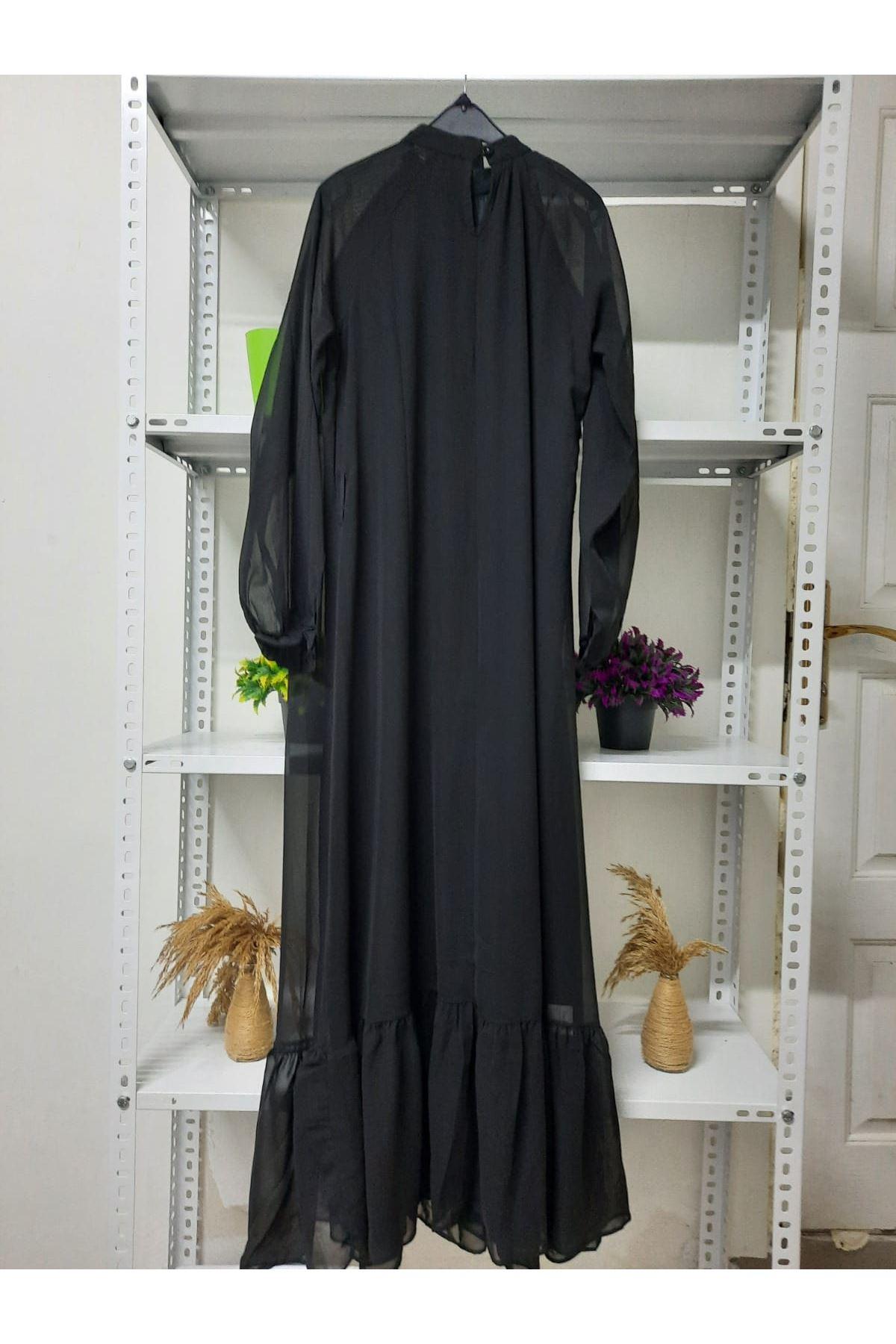 Piliseli Şifon Elbise - Siyah