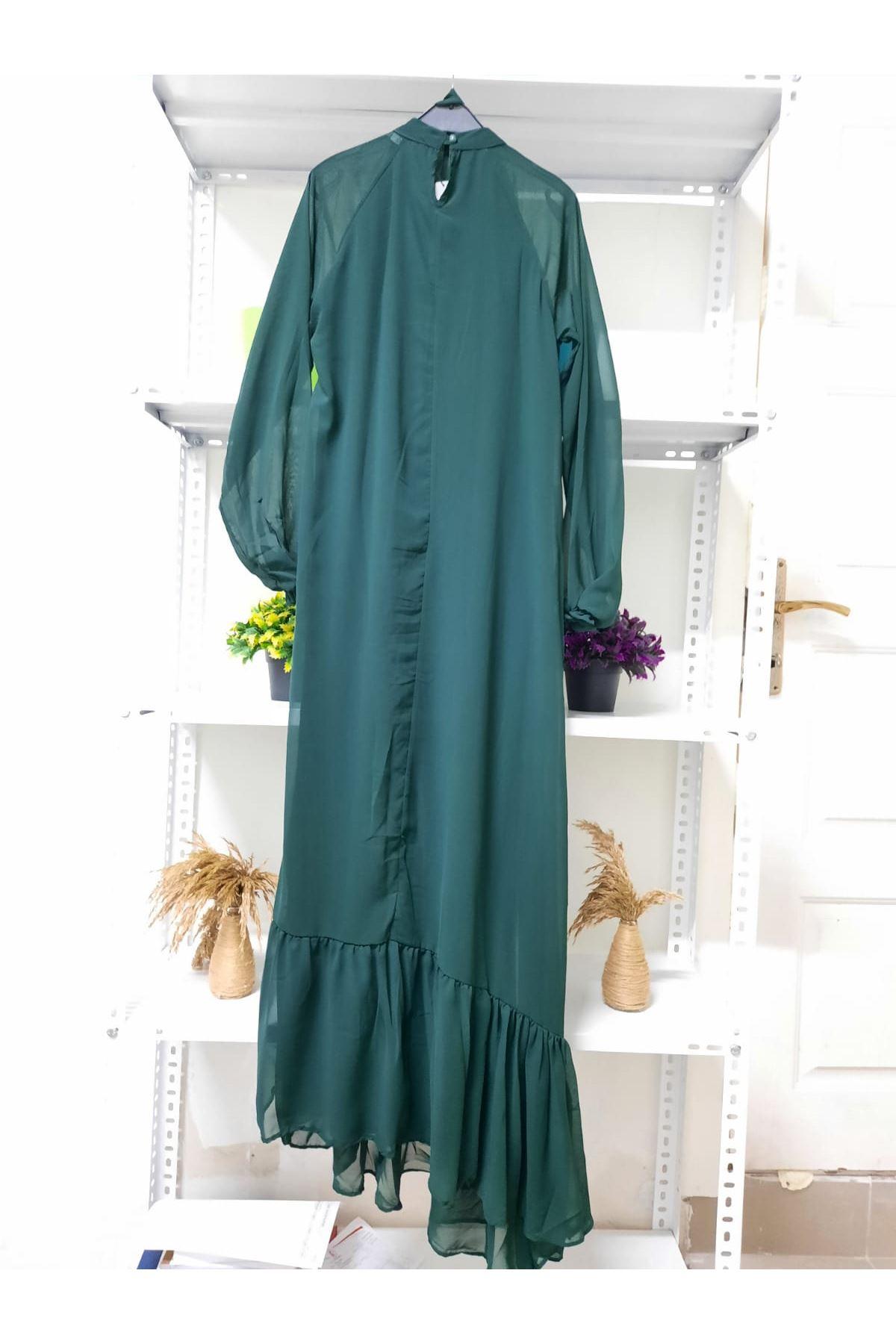 Piliseli Şifon Elbise - haki