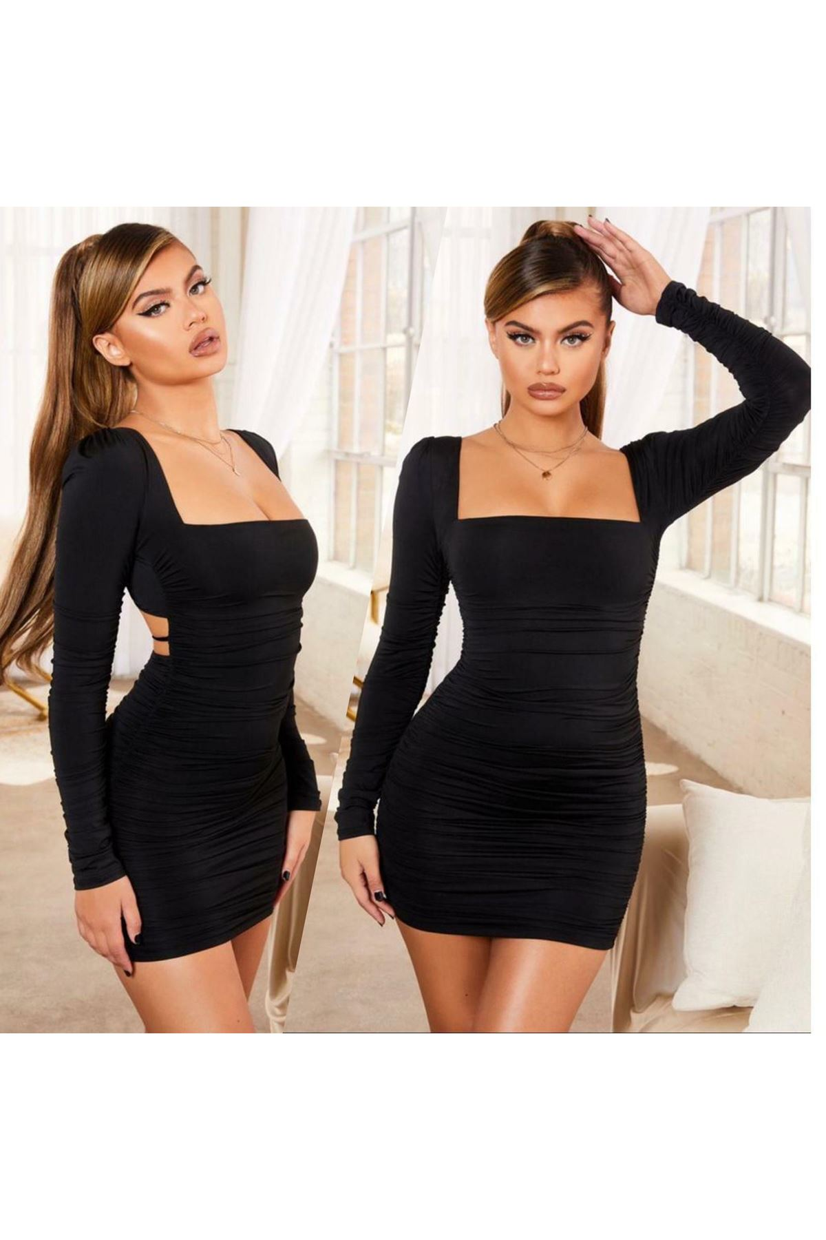 U Yaka Likrarlı Elbise - Siyah