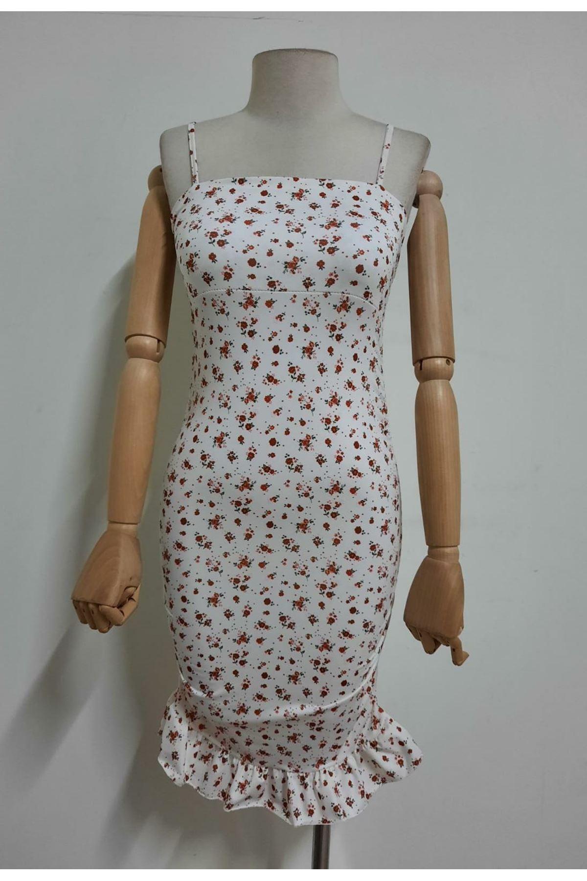 Çiçekli Askılı Mini Elbise - BEYAZ