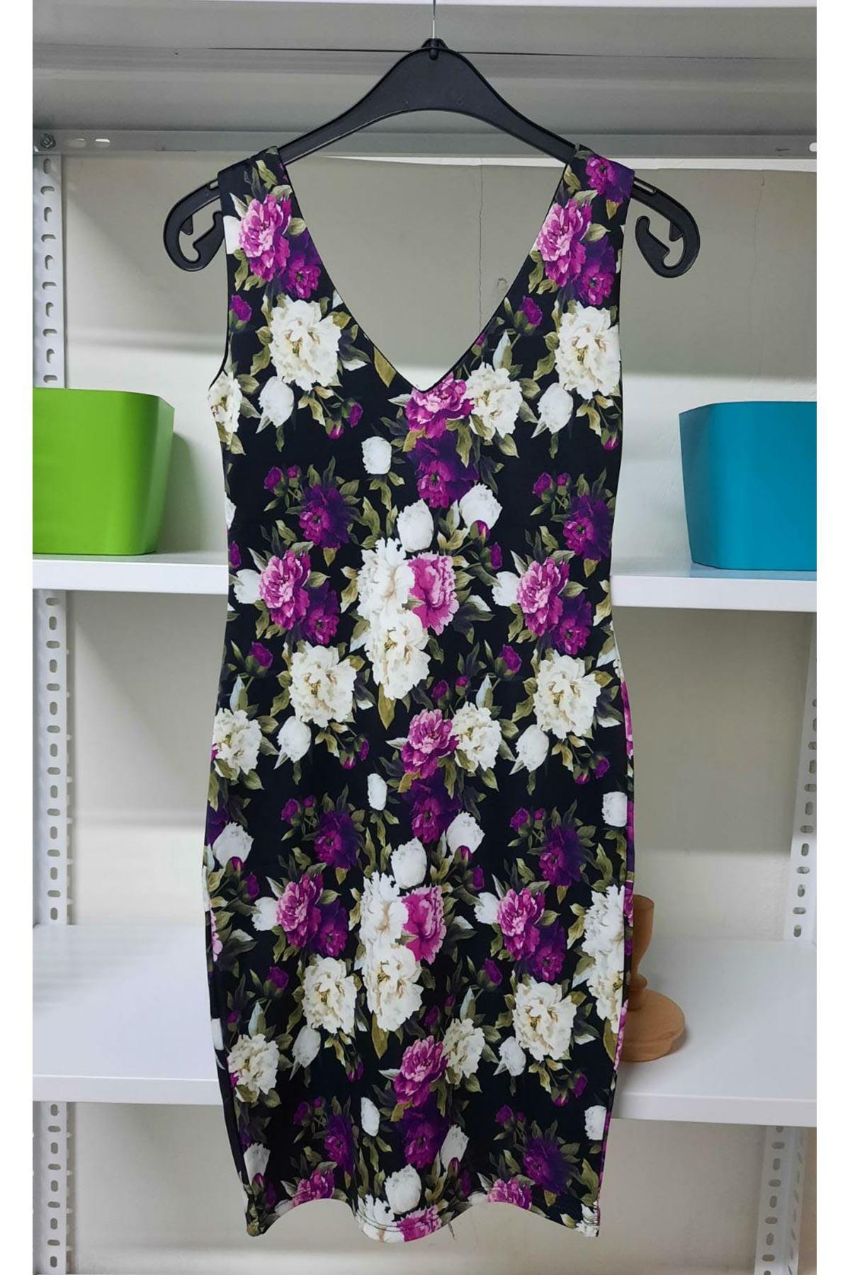 Çiçek Desen Mini Elbise - Multi