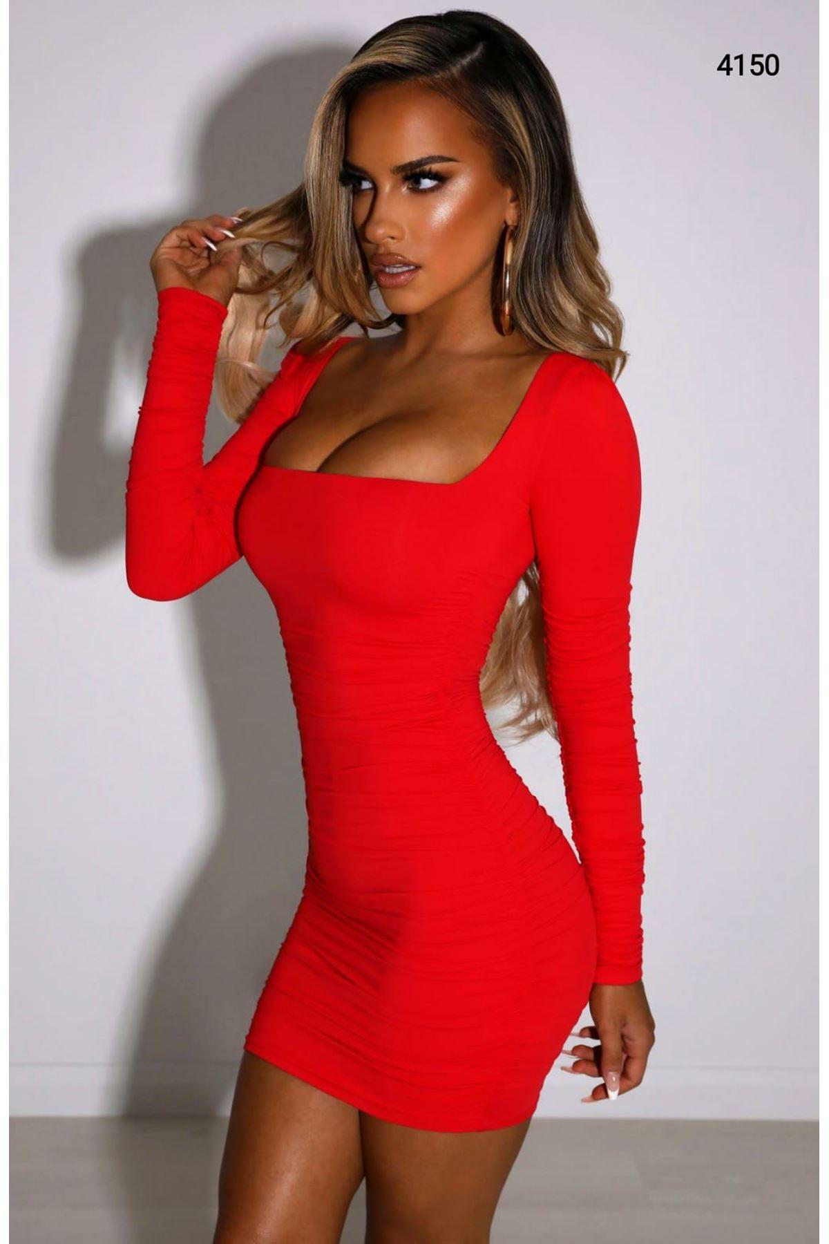 U Yaka Sandy Elbise - Kırmızı