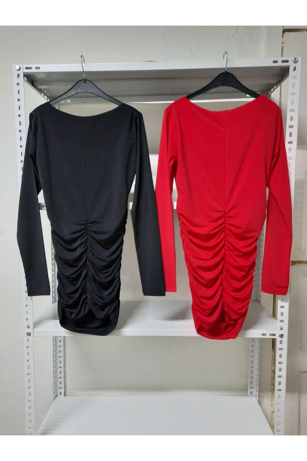 U Yaka Sandy Elbise - Siyah