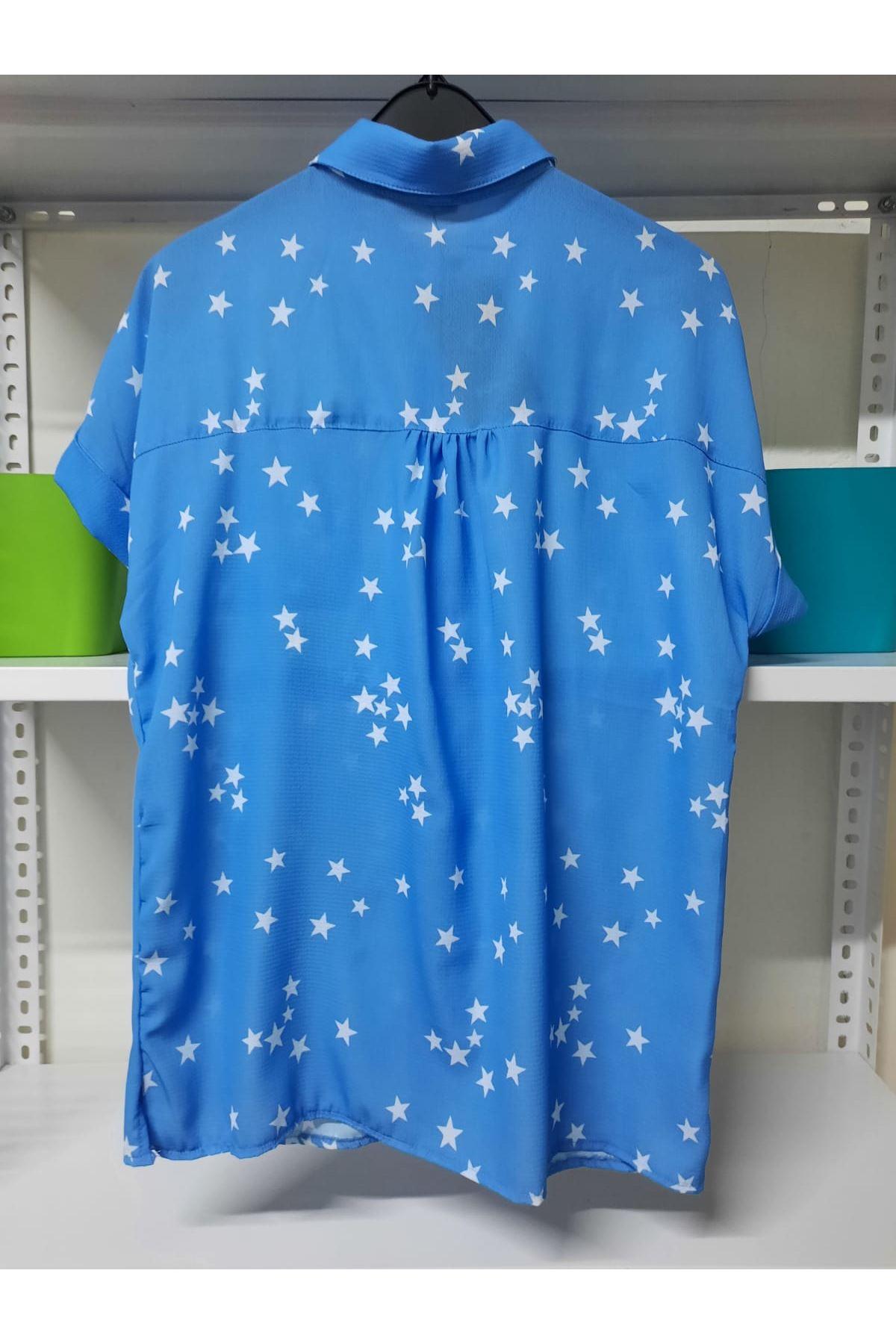 Yıldız Deseneli Gömlek - Mavi