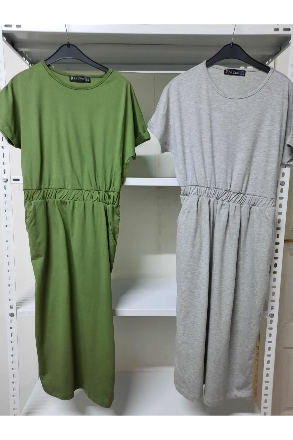 Garnili Kısa Kol Elbise - Gri