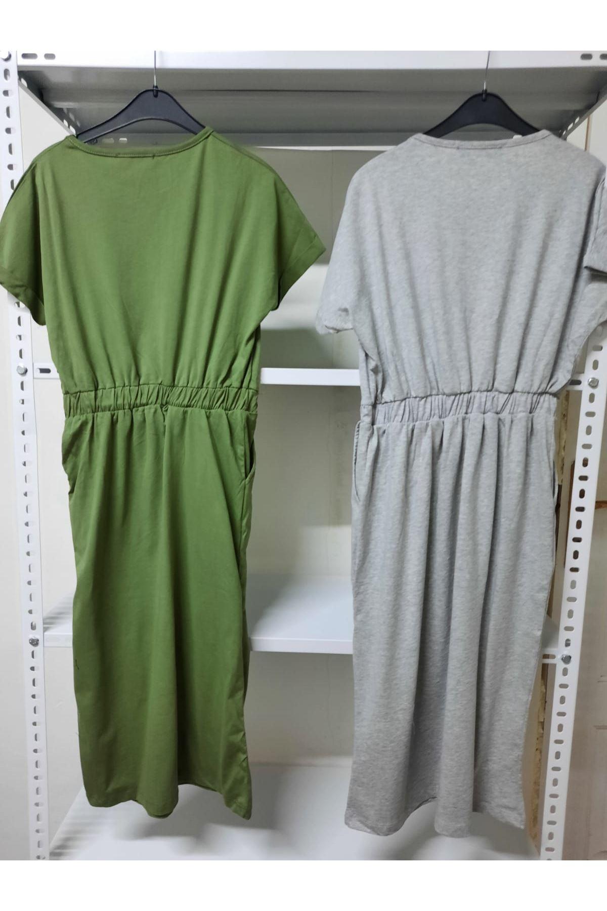 Garnili Kısa Kol Elbise - Haki