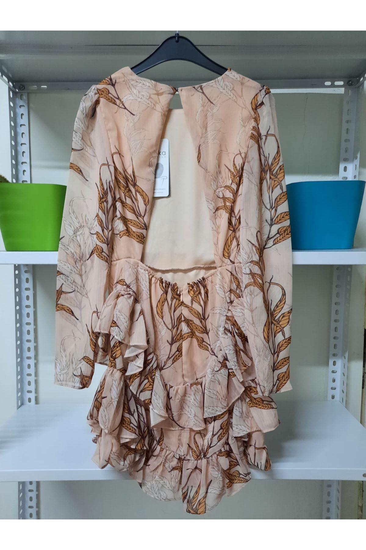 Asimetrik Mini Elbise - Bej