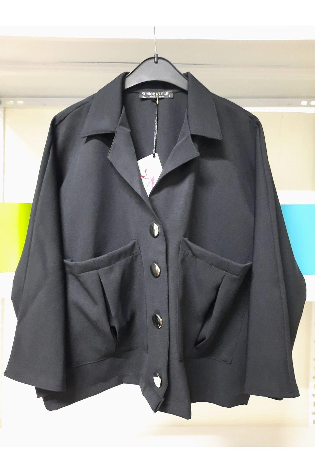 Cep Detaylı Ceket Yaka Gömlek - siyah
