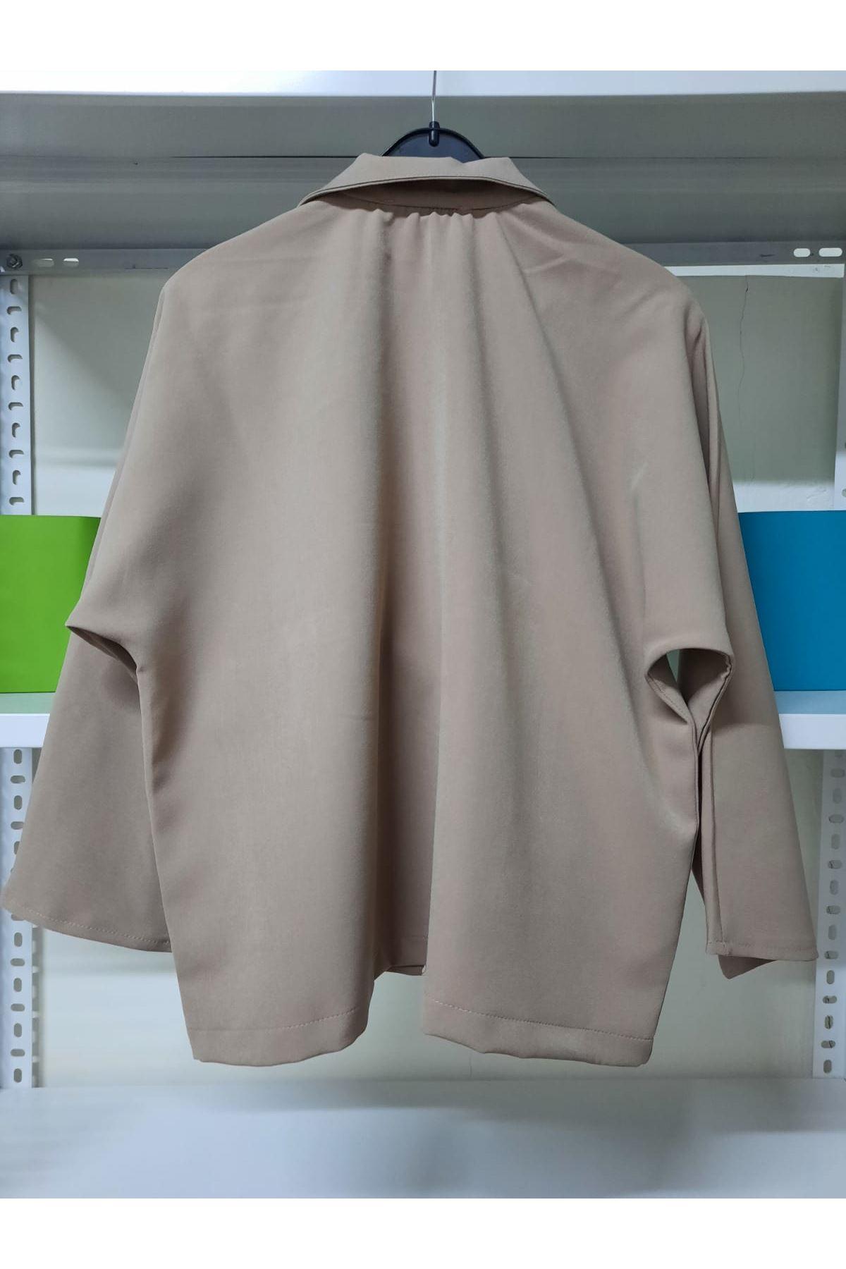 Cep Detaylı Ceket Yaka Gömlek - vizon