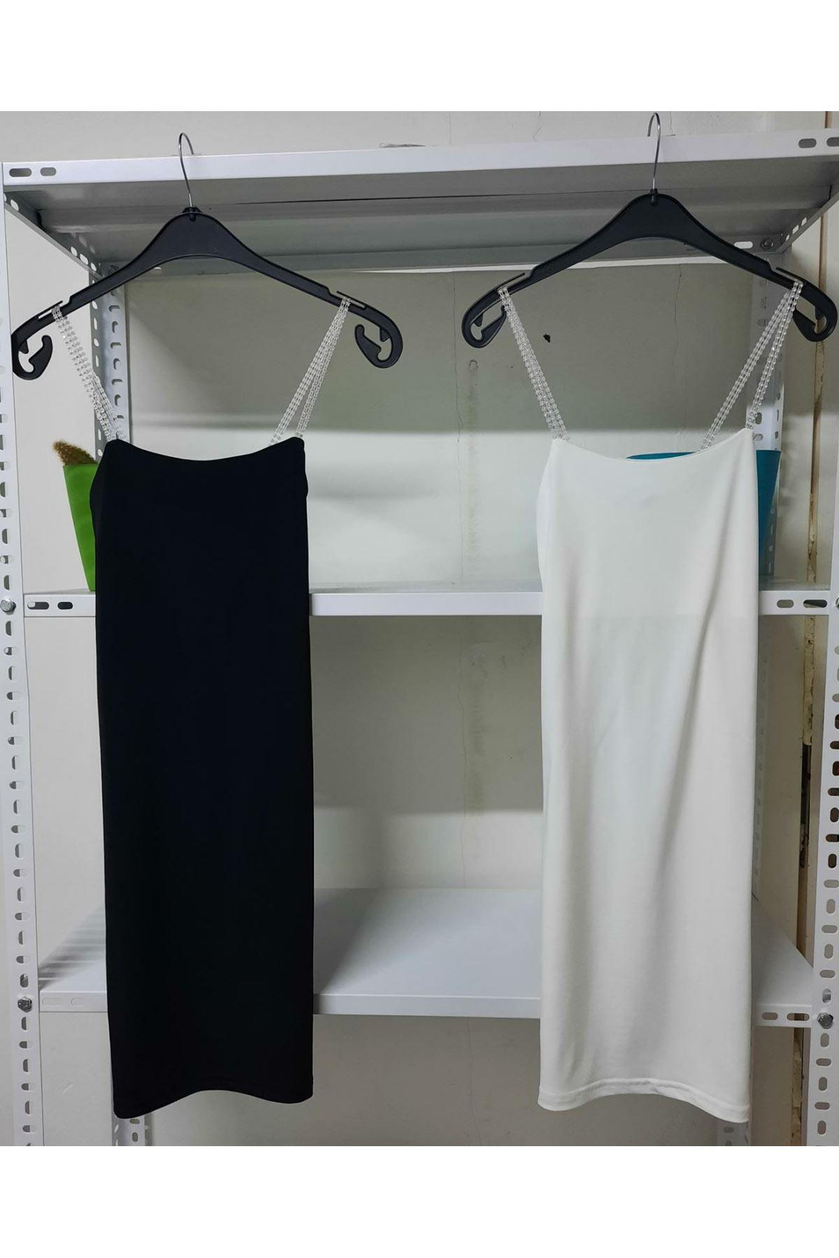 Taş Askılı Elbise - Beyaz