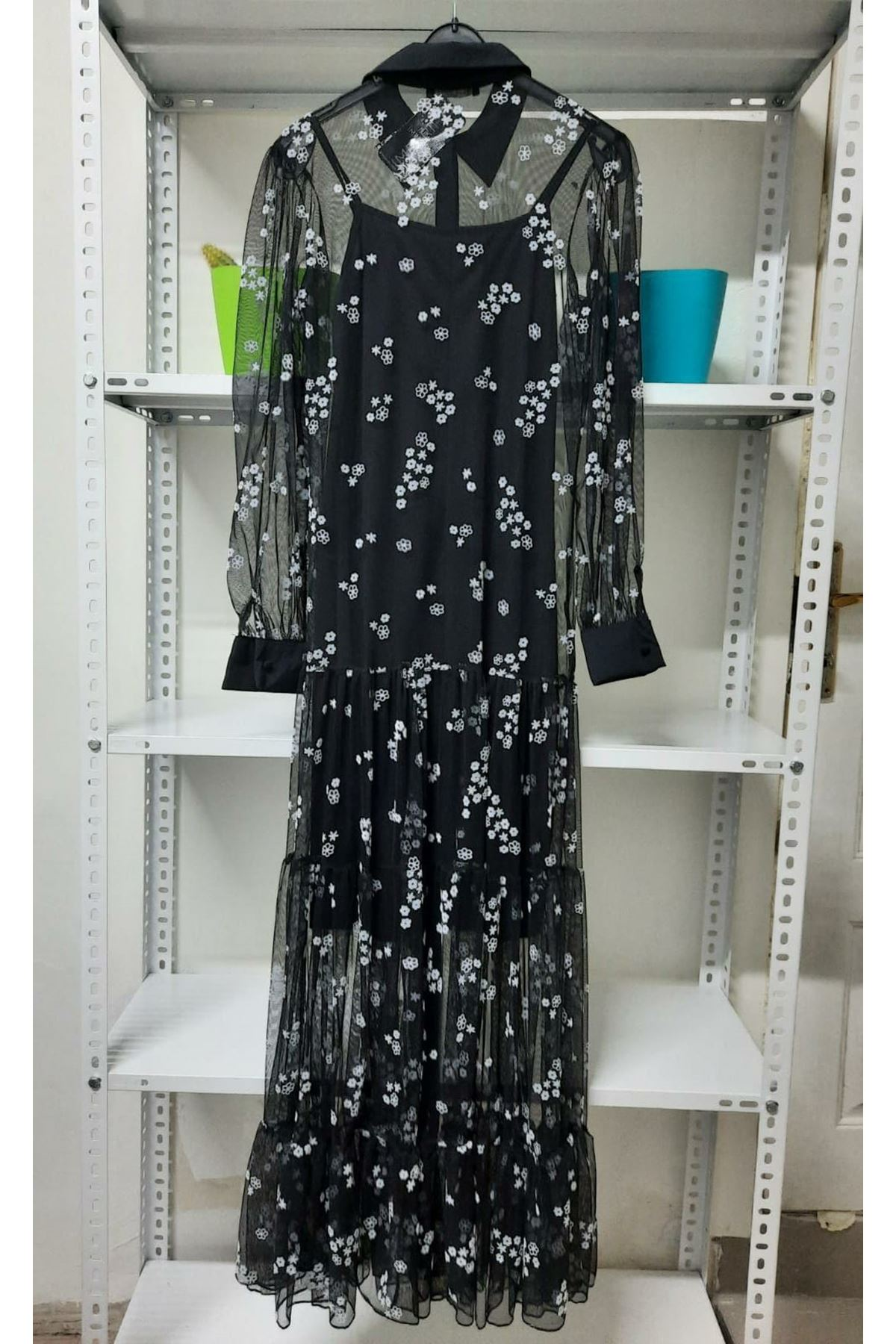 Çiçek Desen Flog Elbise  - siyah
