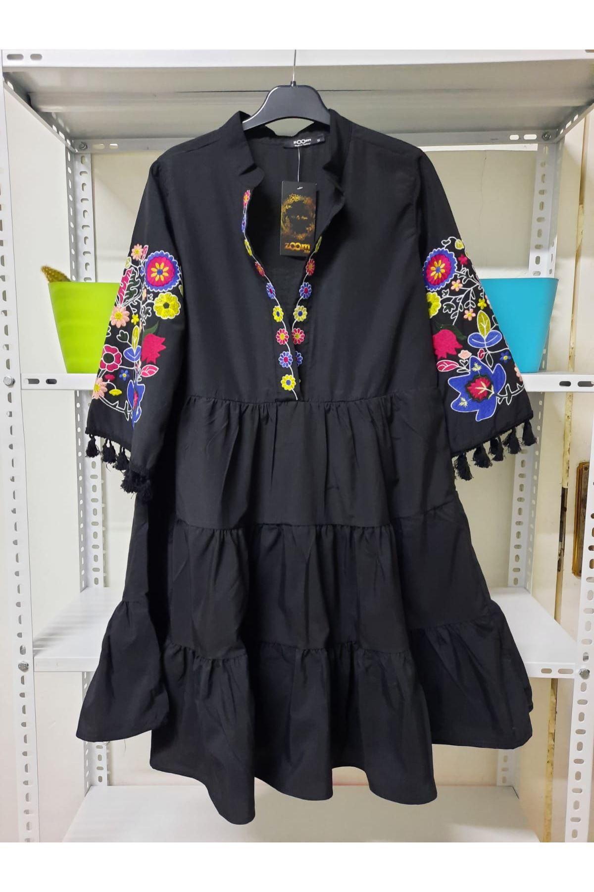 Nakış Detaylı Darkon Elbise - Siyah