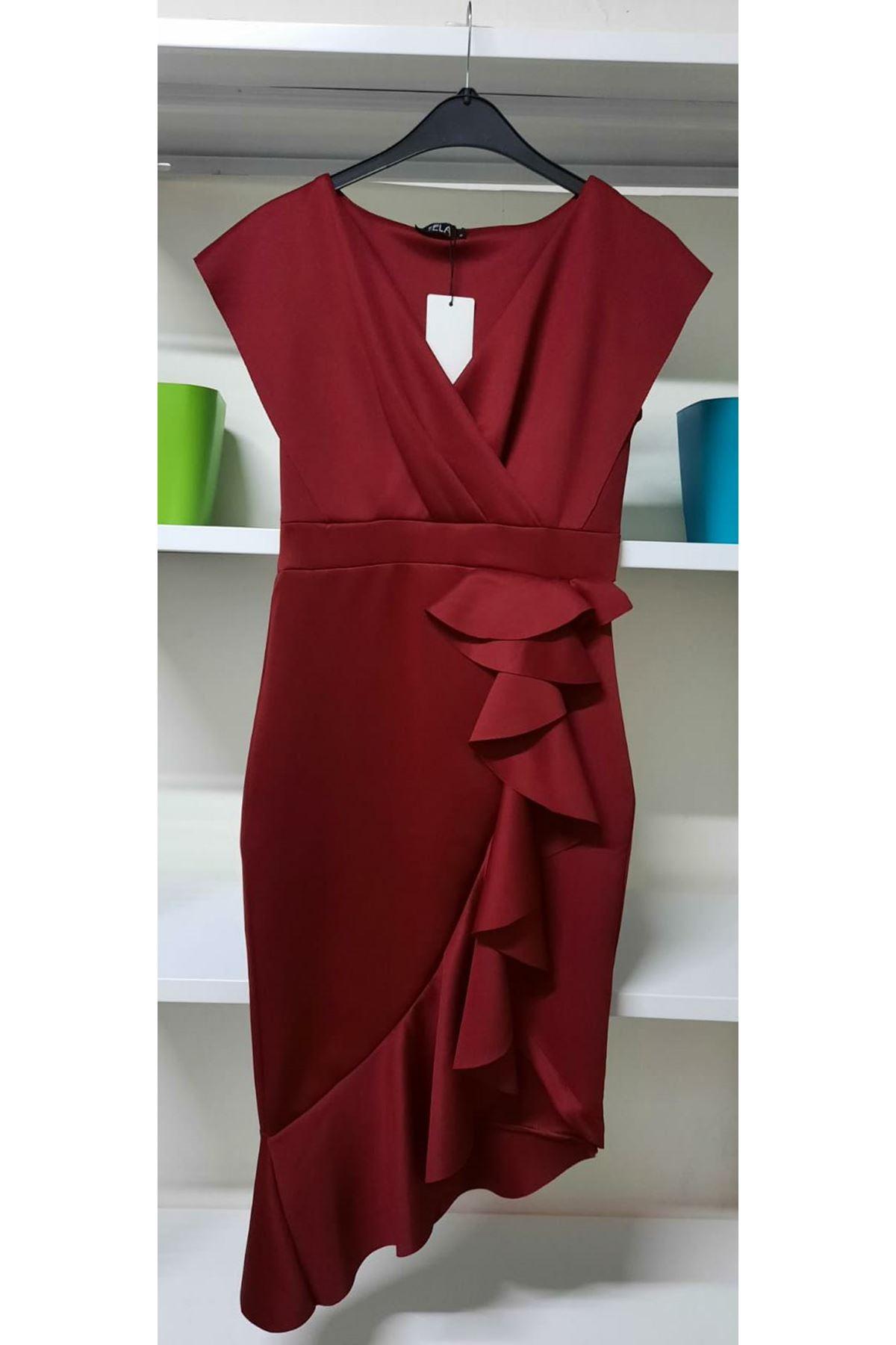 Kravuze Yaka Fırfırlı Scuba Elbise - Bordo