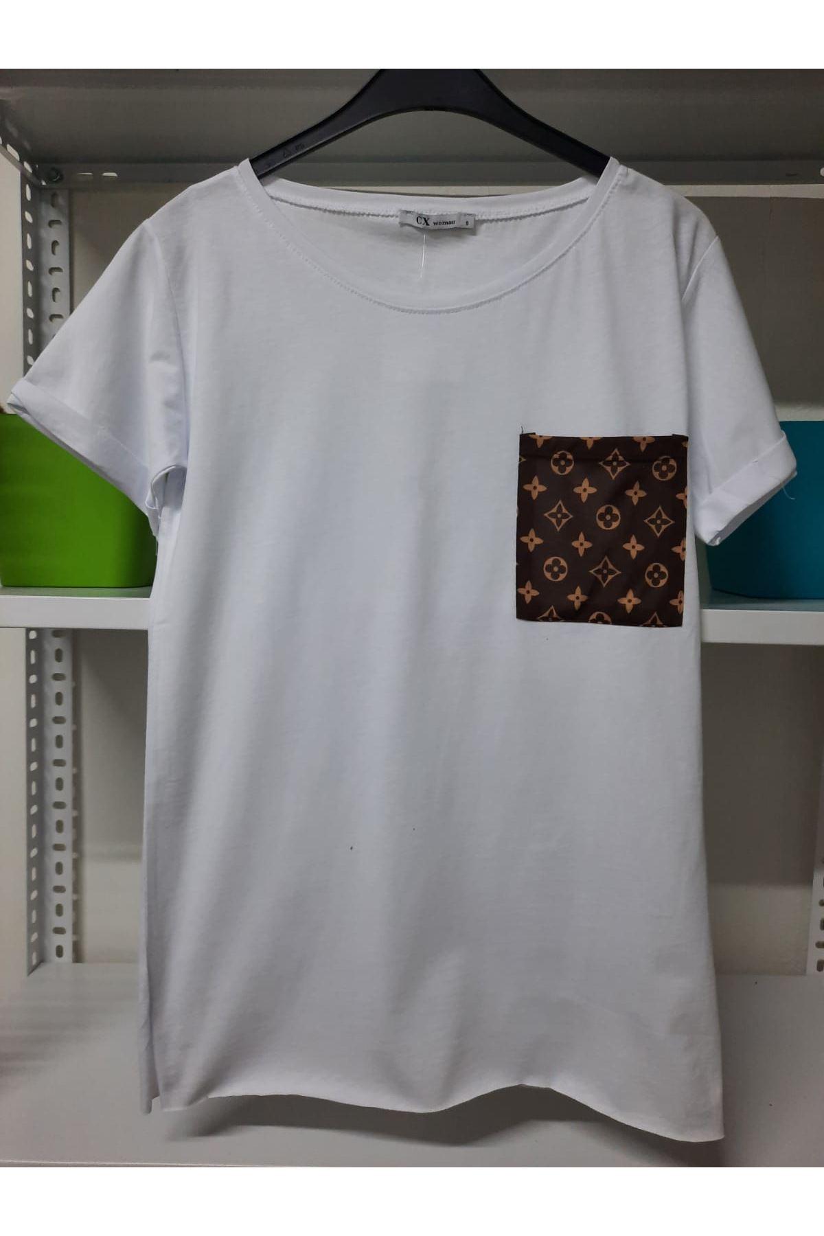 LV Cep Detaylı Tshirt - Beyaz