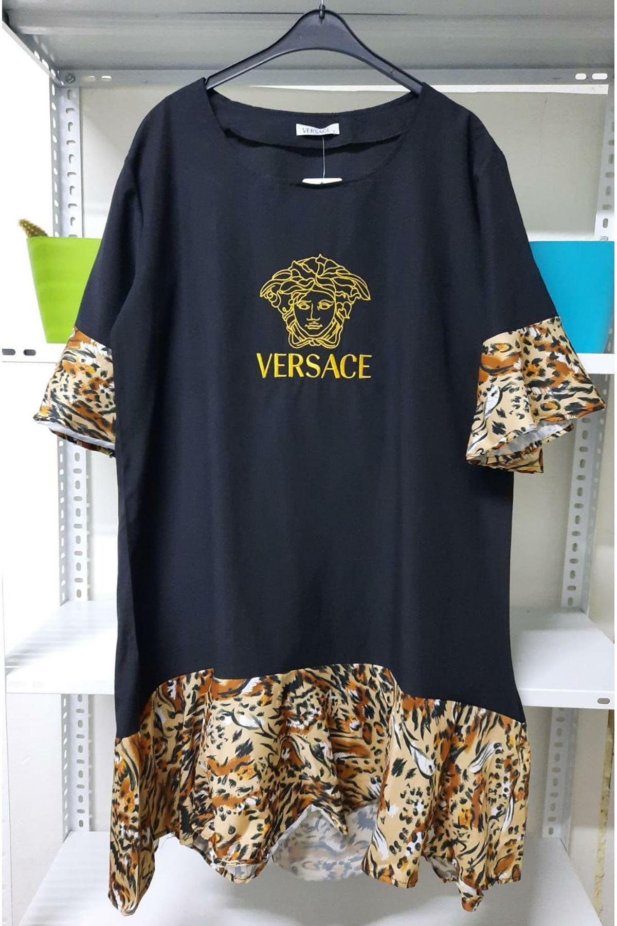 VS Model Leopar Detaylı Elbise - Siyah