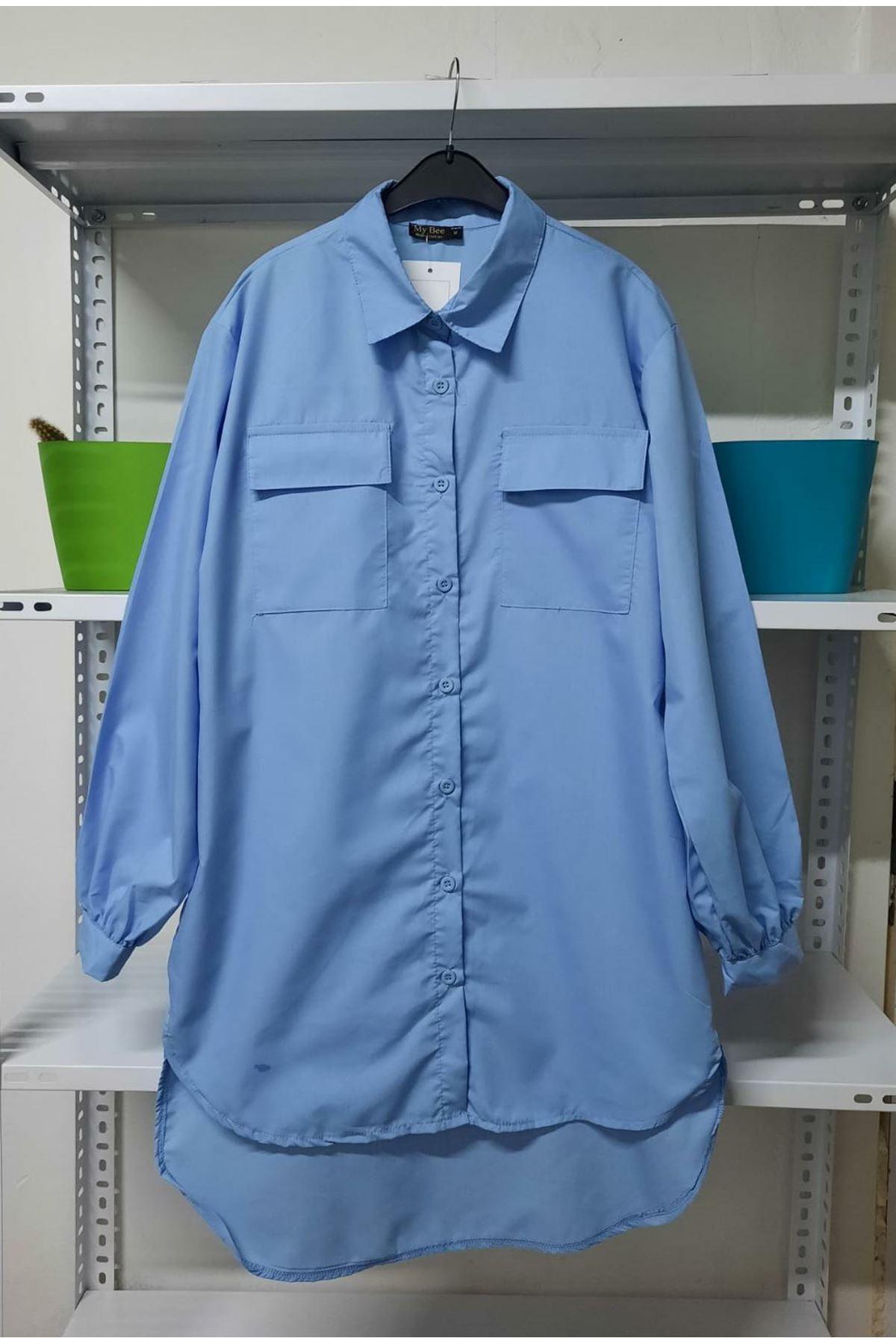 Asimetrik Cep Detaylı Gömlek - Mavi