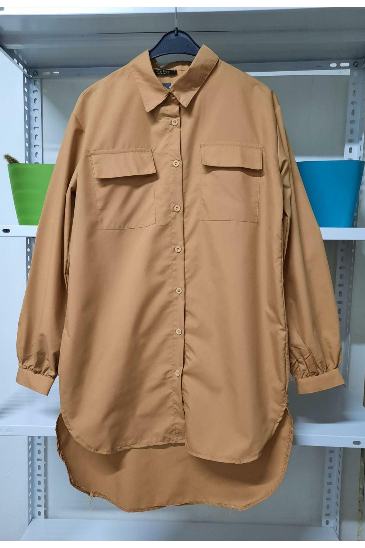 Asimetrik Cep Detaylı Gömlek - Bej