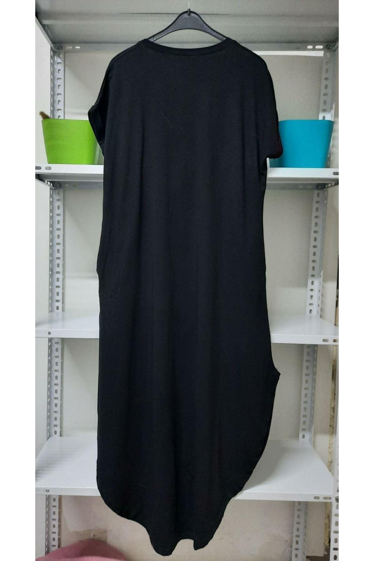 Yırtmaç Detaylı Salaş Elbise - Siyah