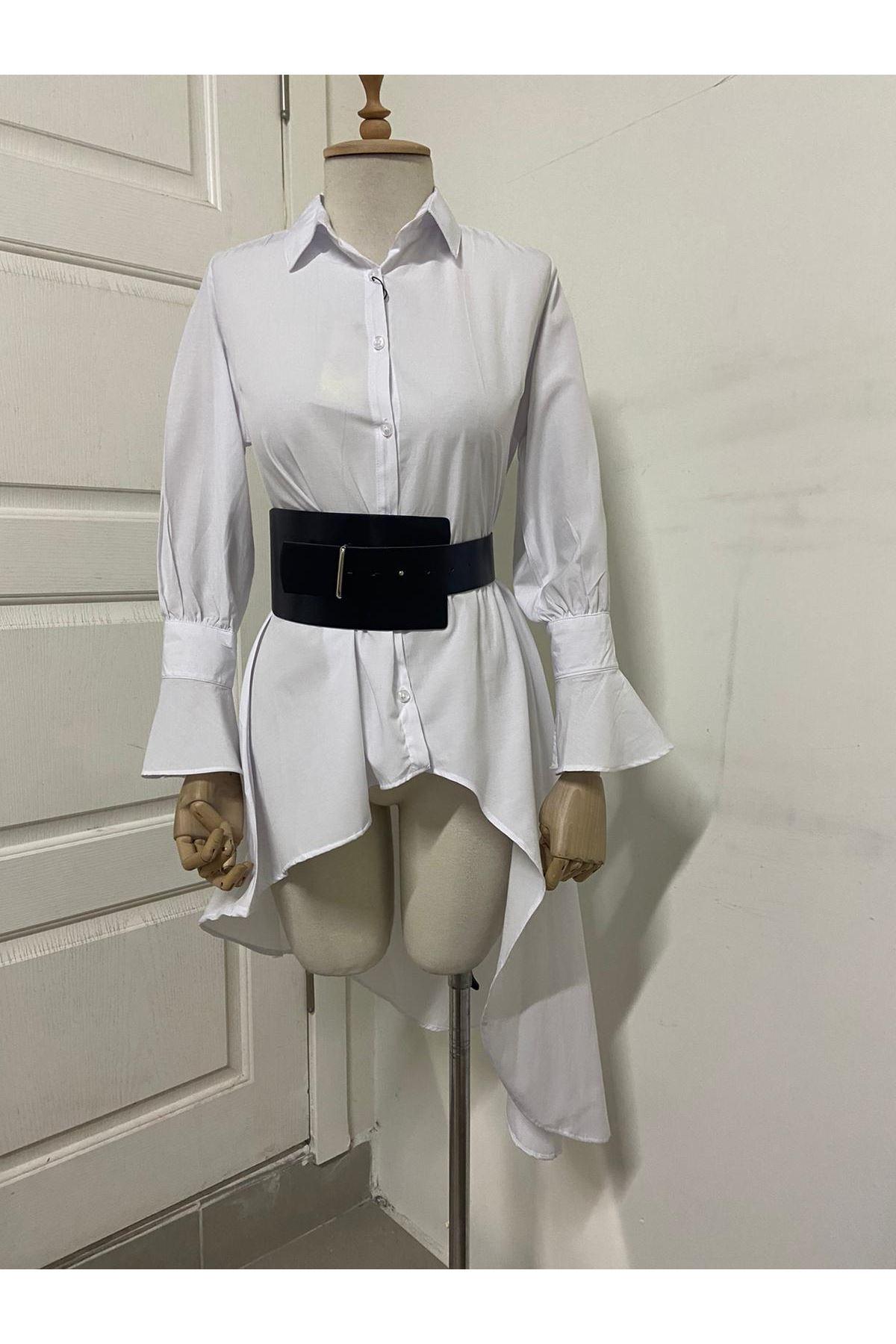 Asimetrik Kemerli Gömlek - Beyaz