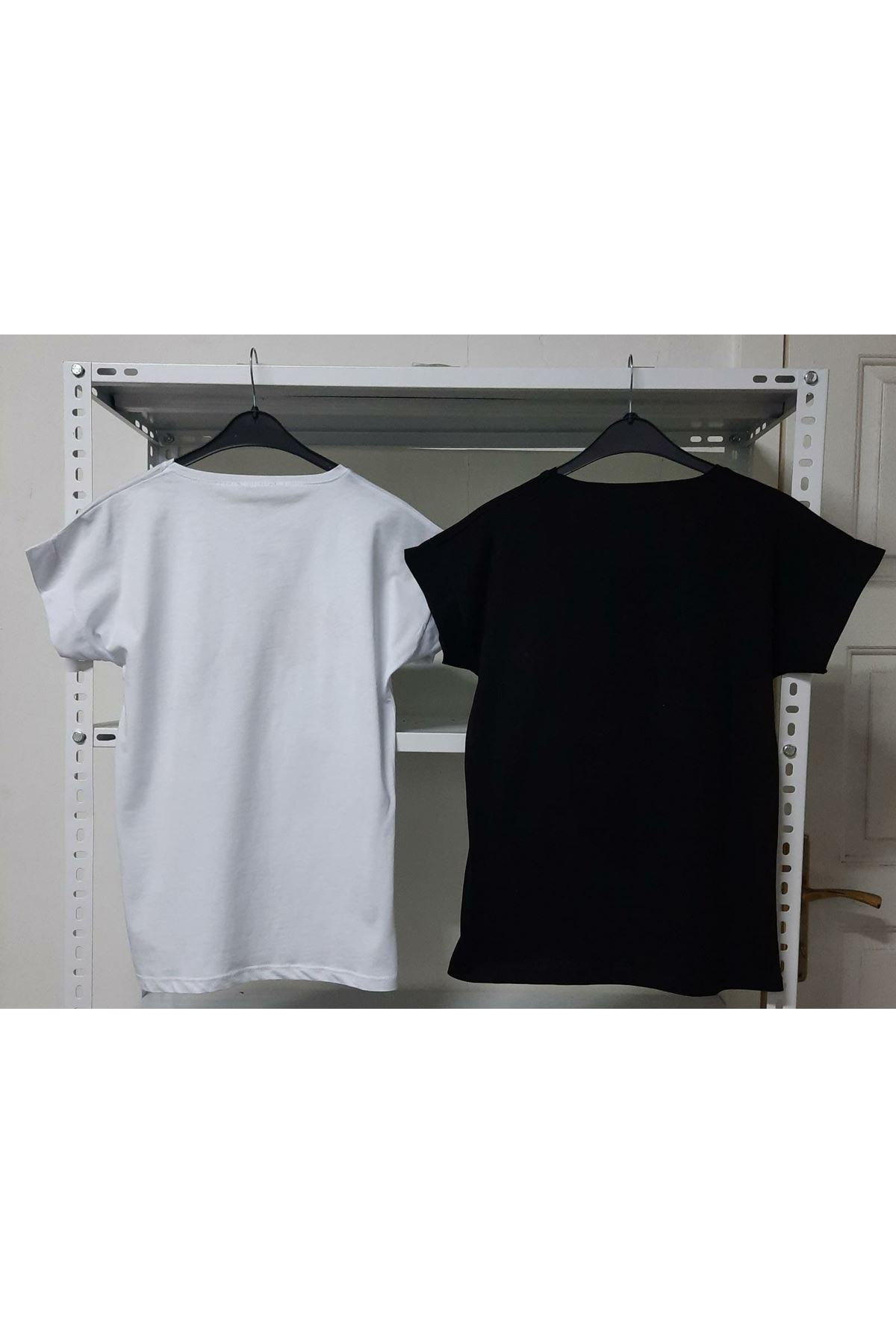 Kalp Baskılı Tshirt - BEYAZ