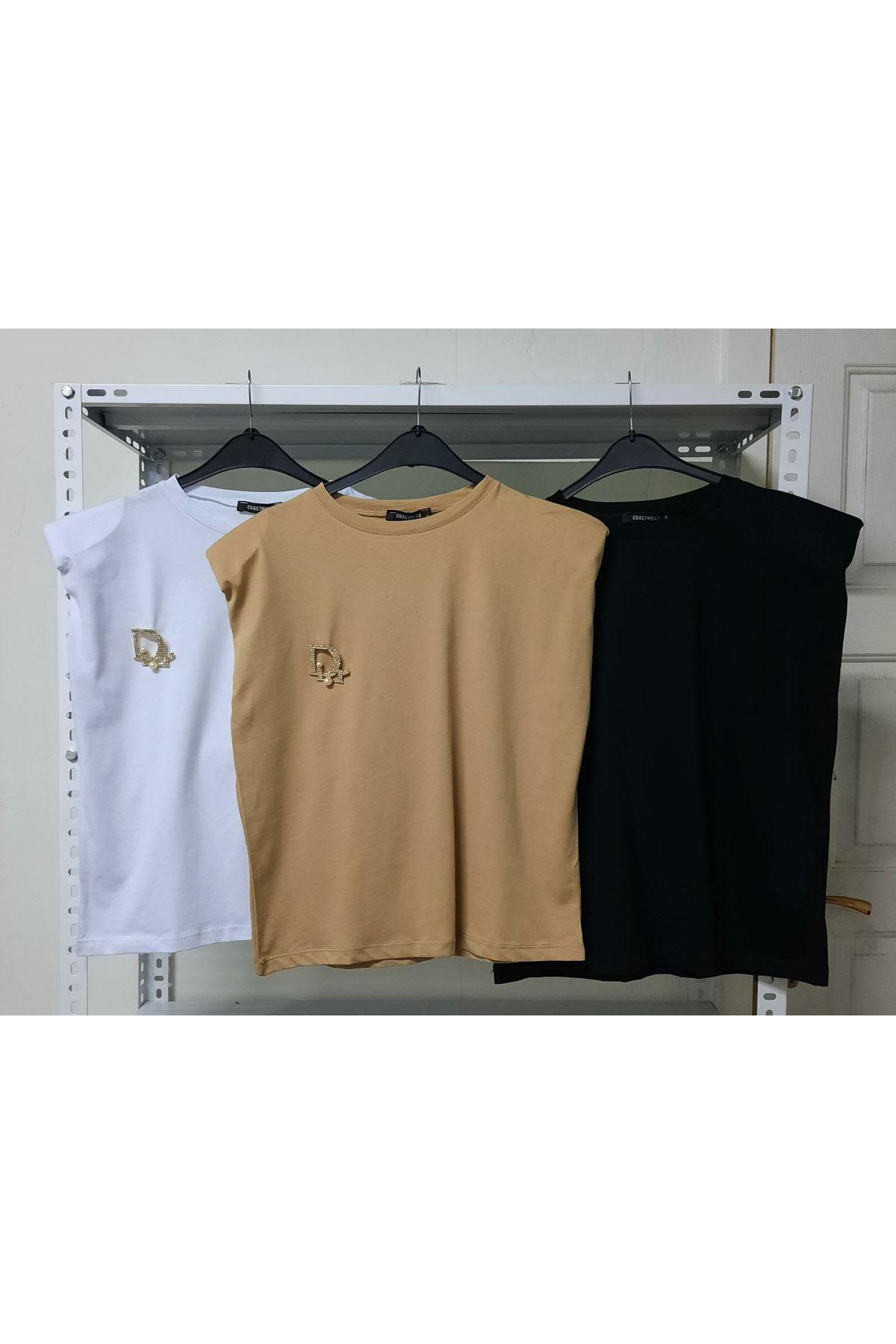 Vatkalı Basic Tshirt - BEJ